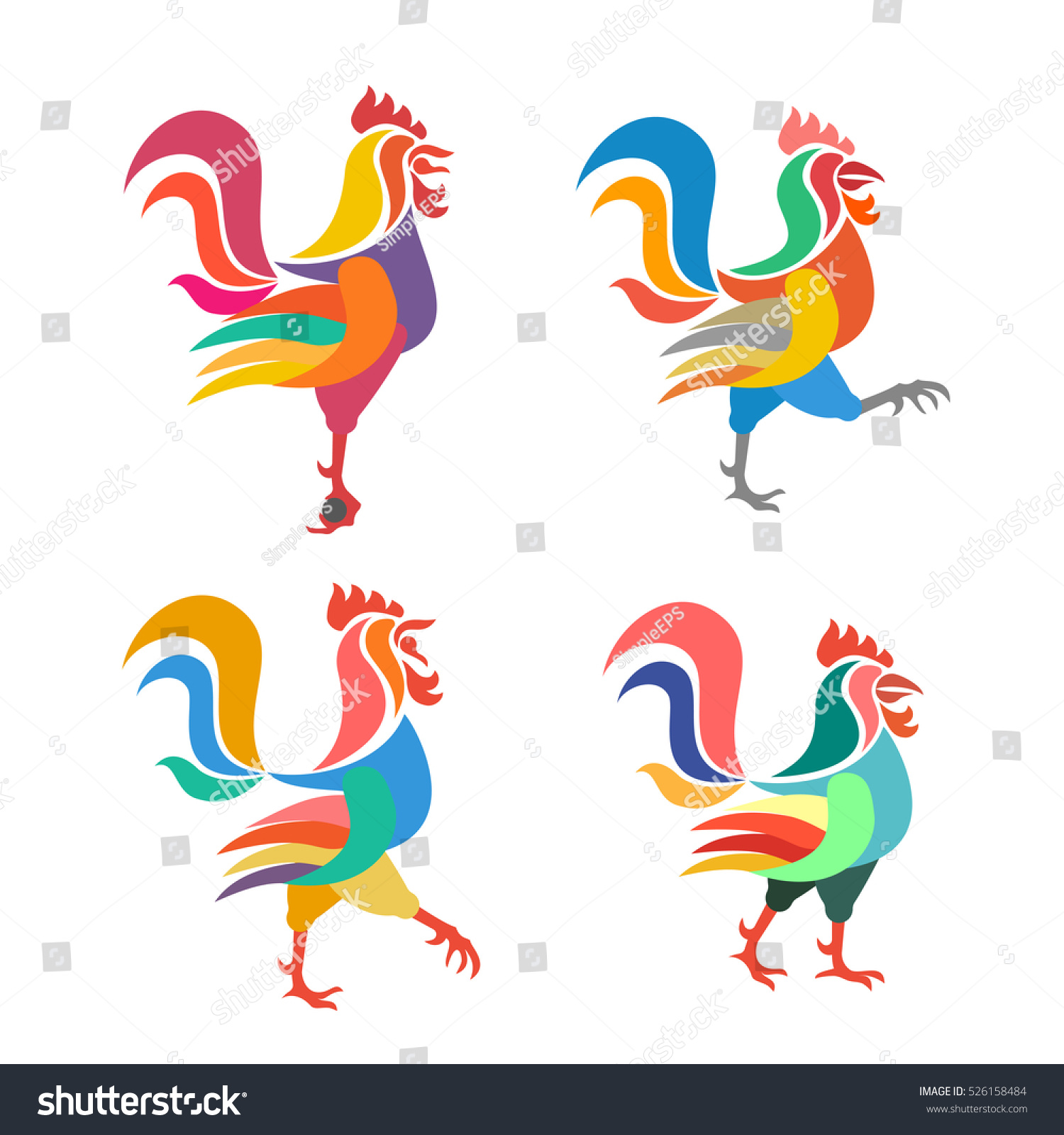 stylized image rooster animal symbol eastern stock vector