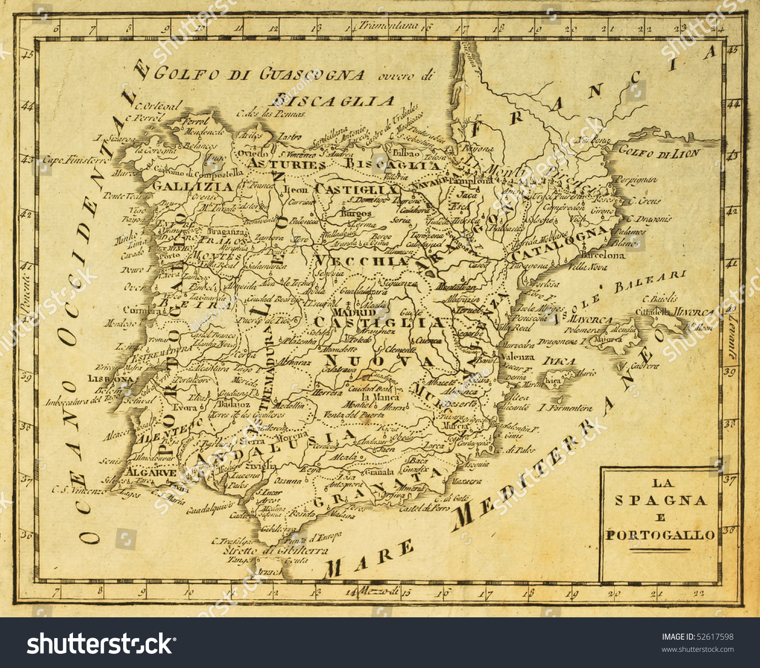 Spain Portugal Old Map Published Venice Stock Photo - Portugal italy map