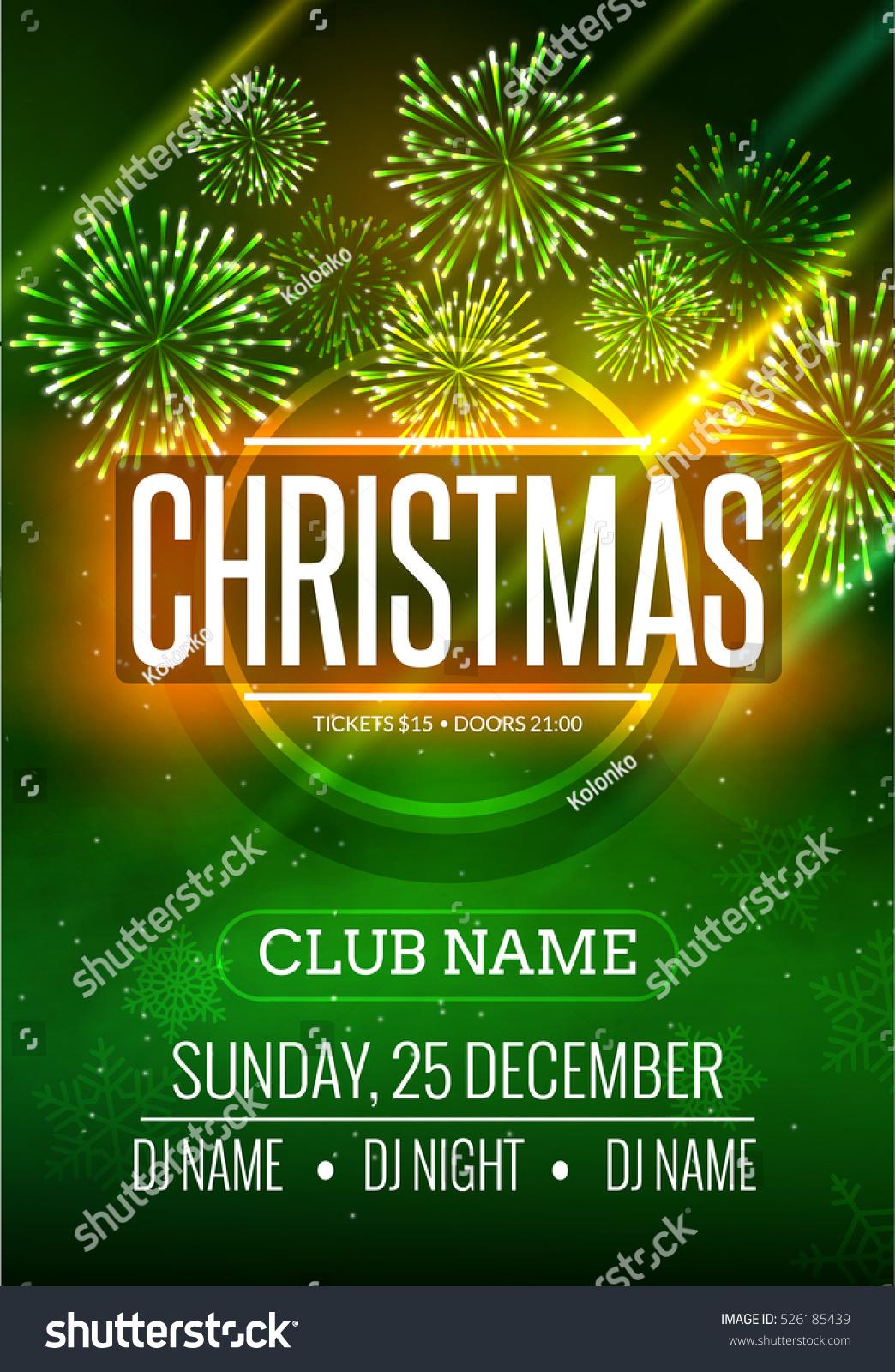 Christmas Party Poster Design Fireworks Light Stock Vector ...