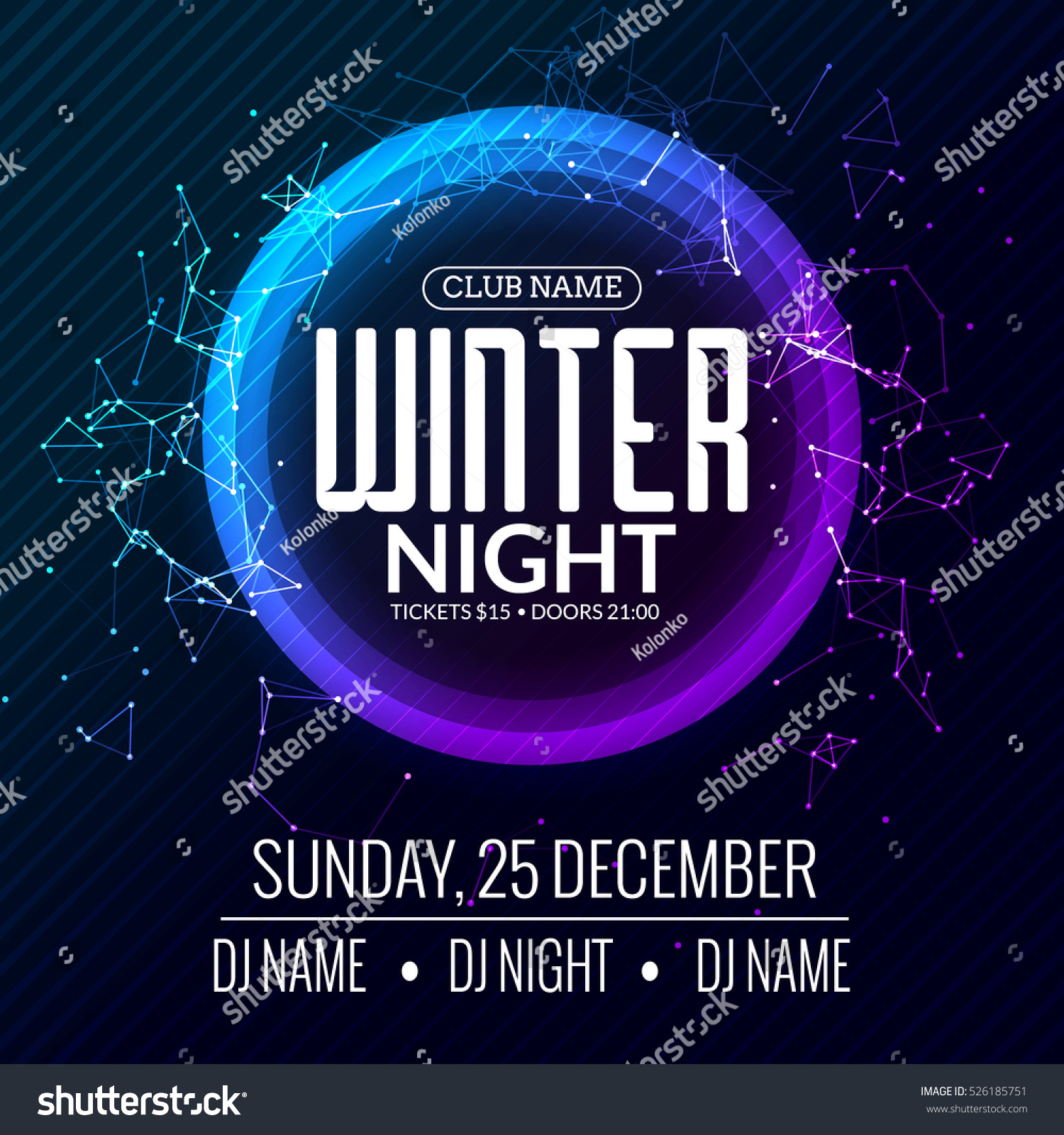Poster design for technical events - Dance Party Dj Battle Poster Design Winter Disco Party Music Event Flyer Or