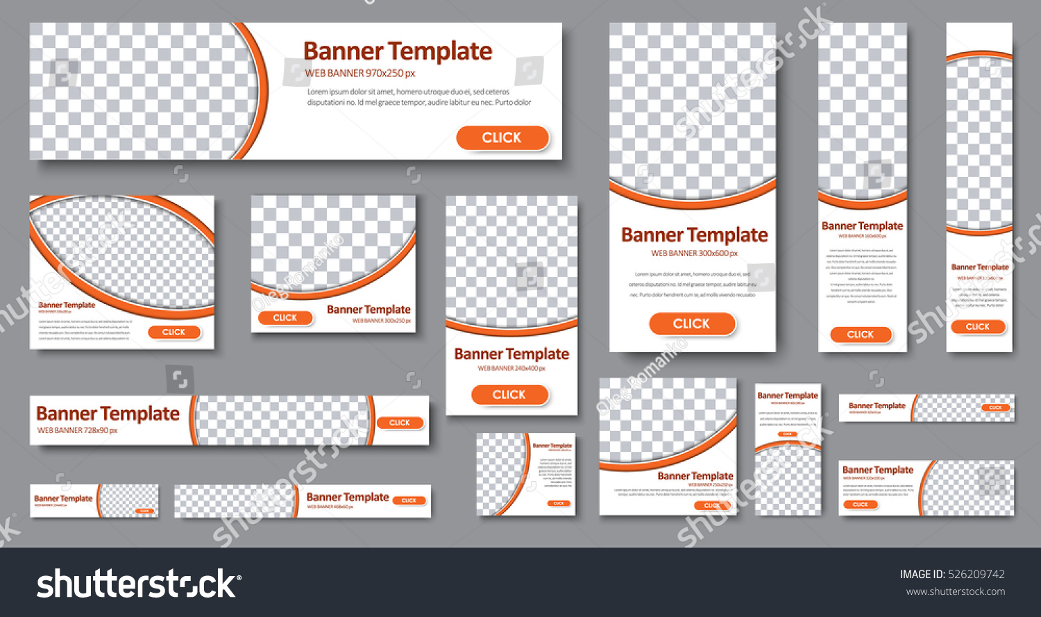 Design Web banners of different standard sizes. Templates with round place for photos, buttons. Vector illustration. Set. #526209742
