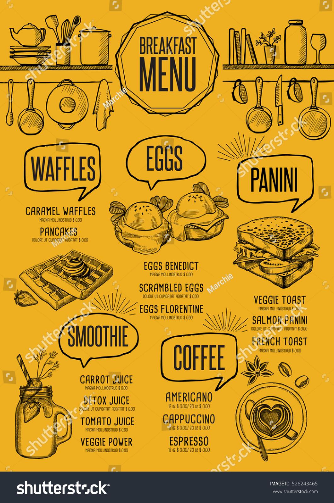 Breakfast Menu Placemat Food Restaurant Brochure Stock Vector