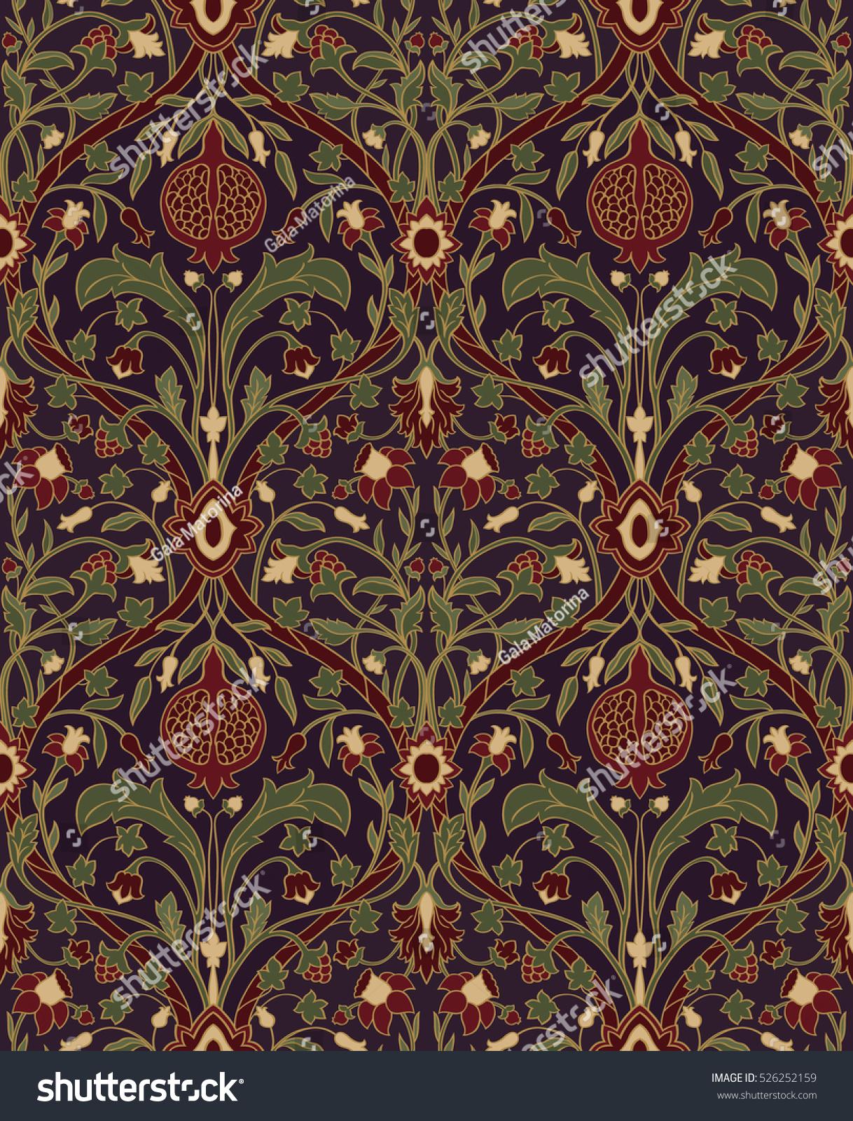 Dark Floral Pattern Seamless Rich European Stock Vector