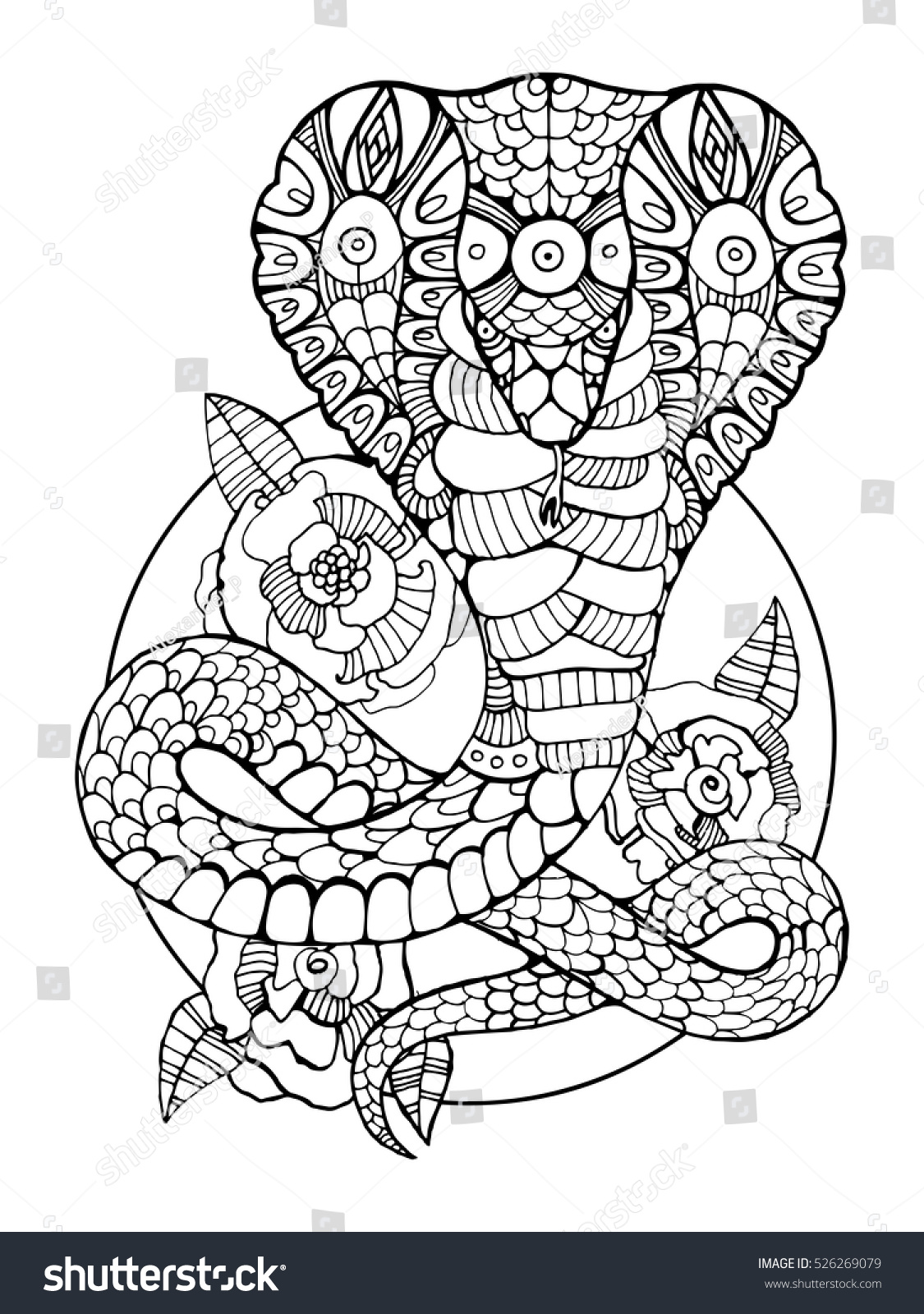 Stress coloring books - Anti Stress Coloring Book Japan Cobra Snake Coloring Book For Adults Vector Illustration Anti Stress