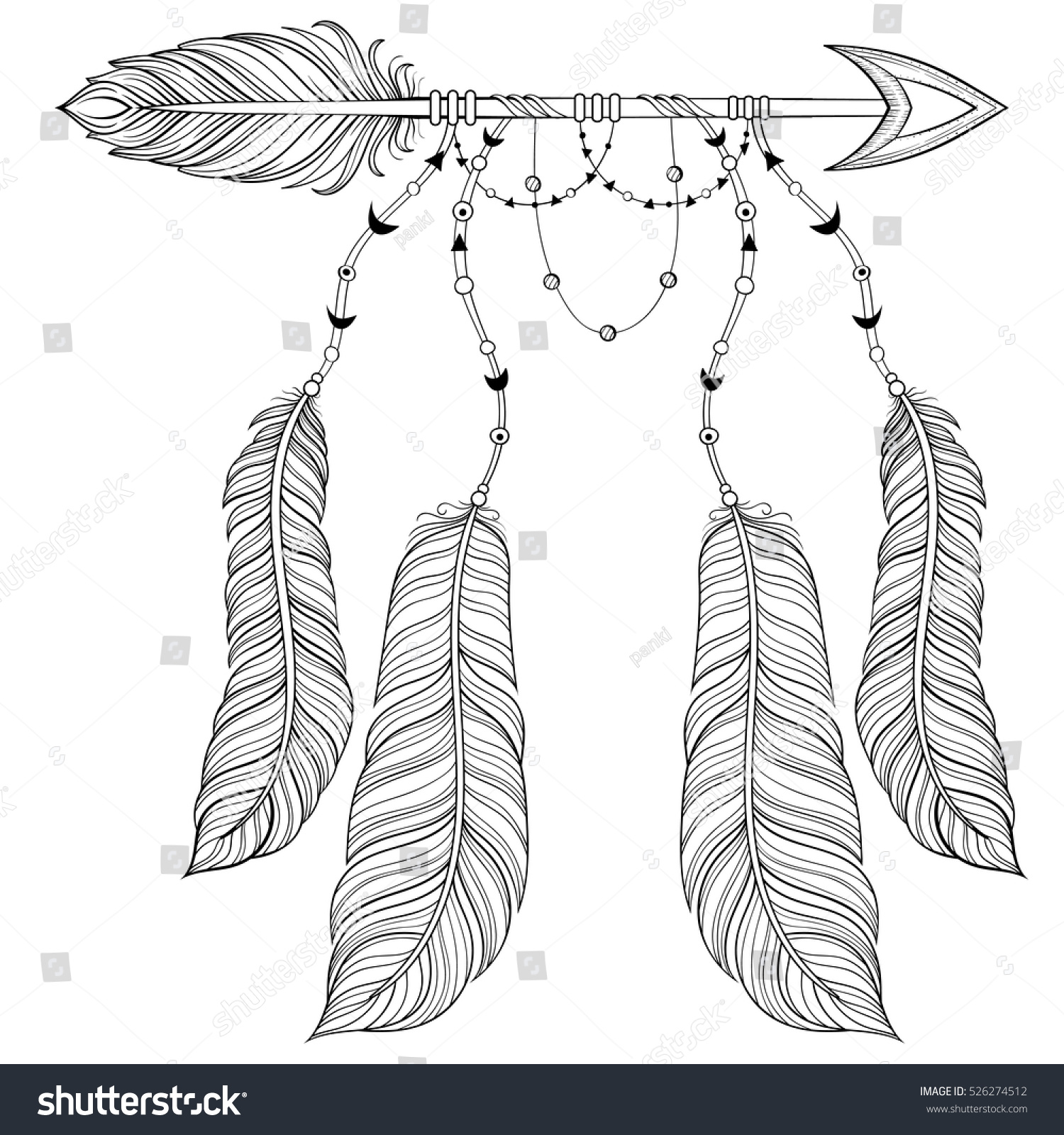 Vector Ethnic Arrow With Bird Feathers Boho Style Concept American Zentangle Illustration For Adult