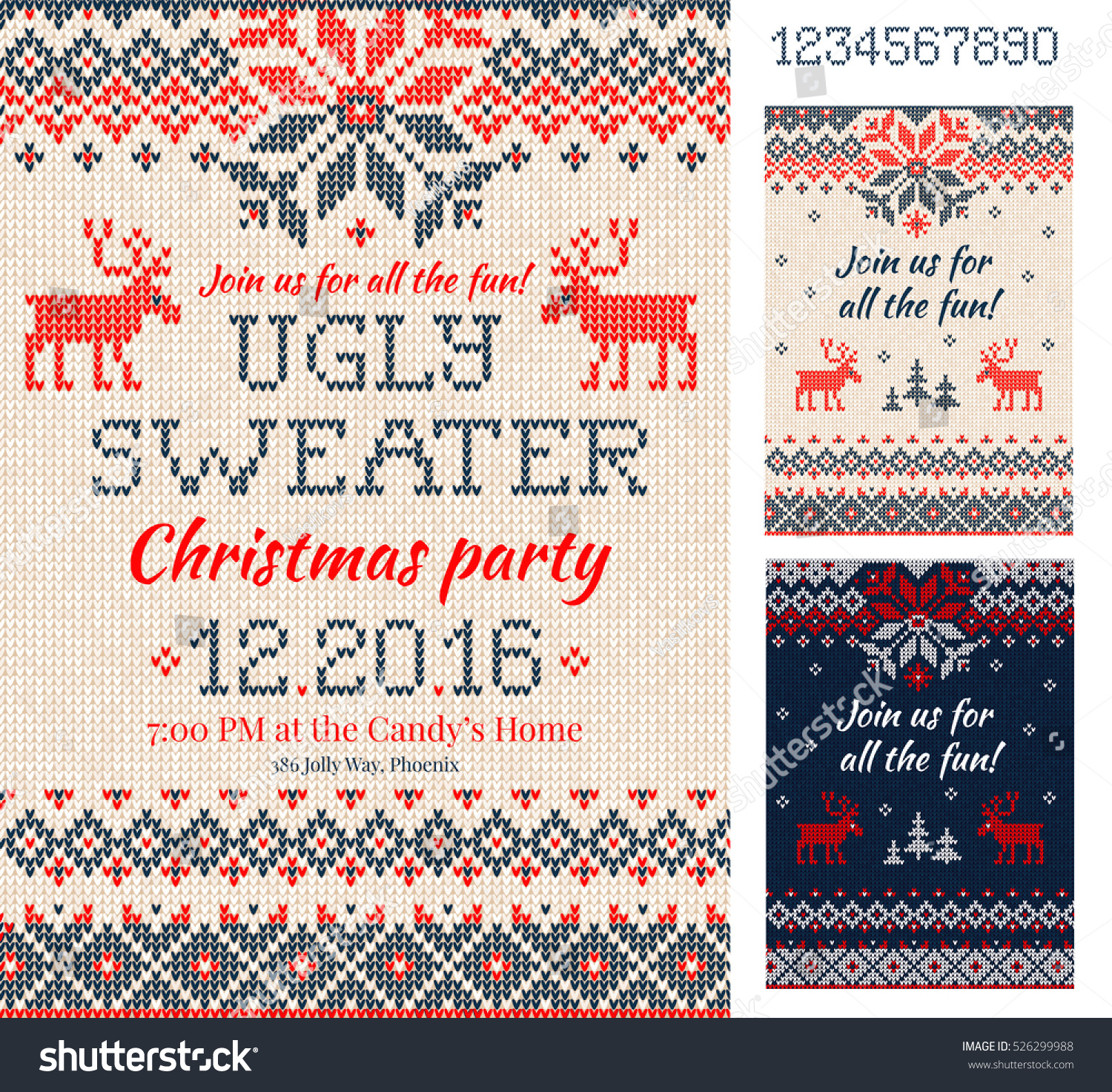 Merry christmas party invitation cards knitted stock vector merry christmas party invitation cards with knitted patterns and ornaments in scandinavian style with deers stopboris Choice Image
