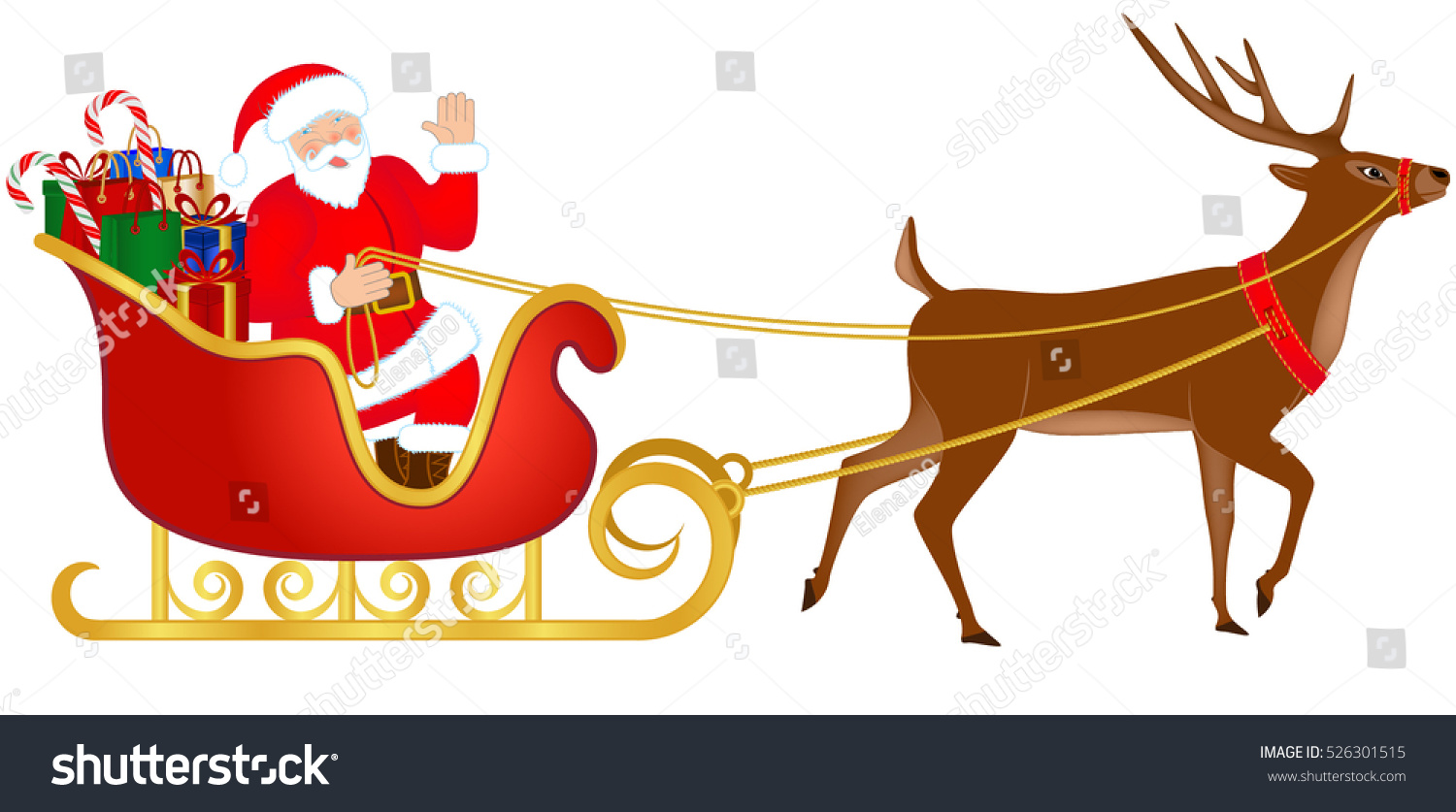 Santa Claus Riding Sleigh Full Gifts Stock Vector ...
