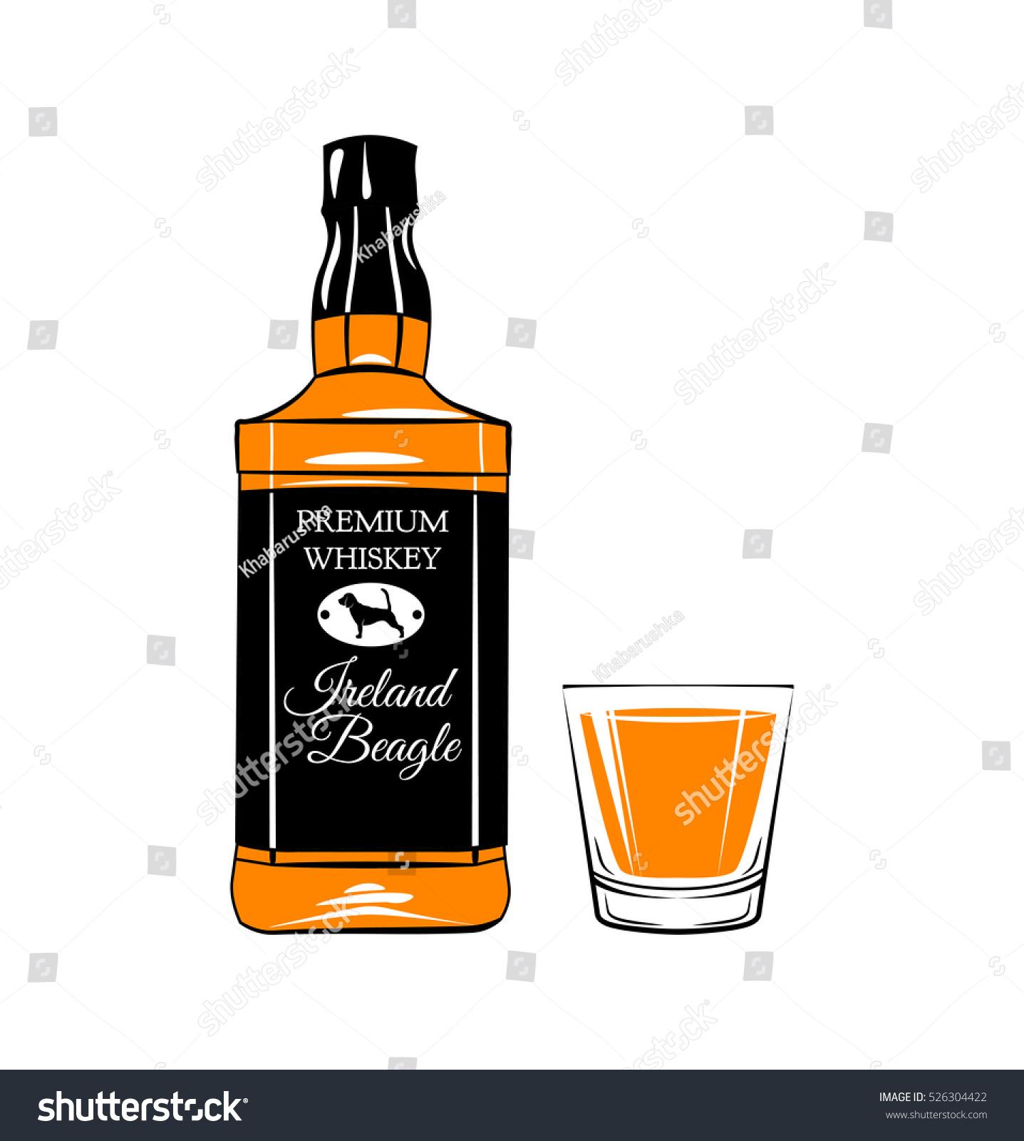 whiskey bottle shot glass alcohol drink stock vector royalty free rh shutterstock com jack daniels vector free jack daniels vector logo