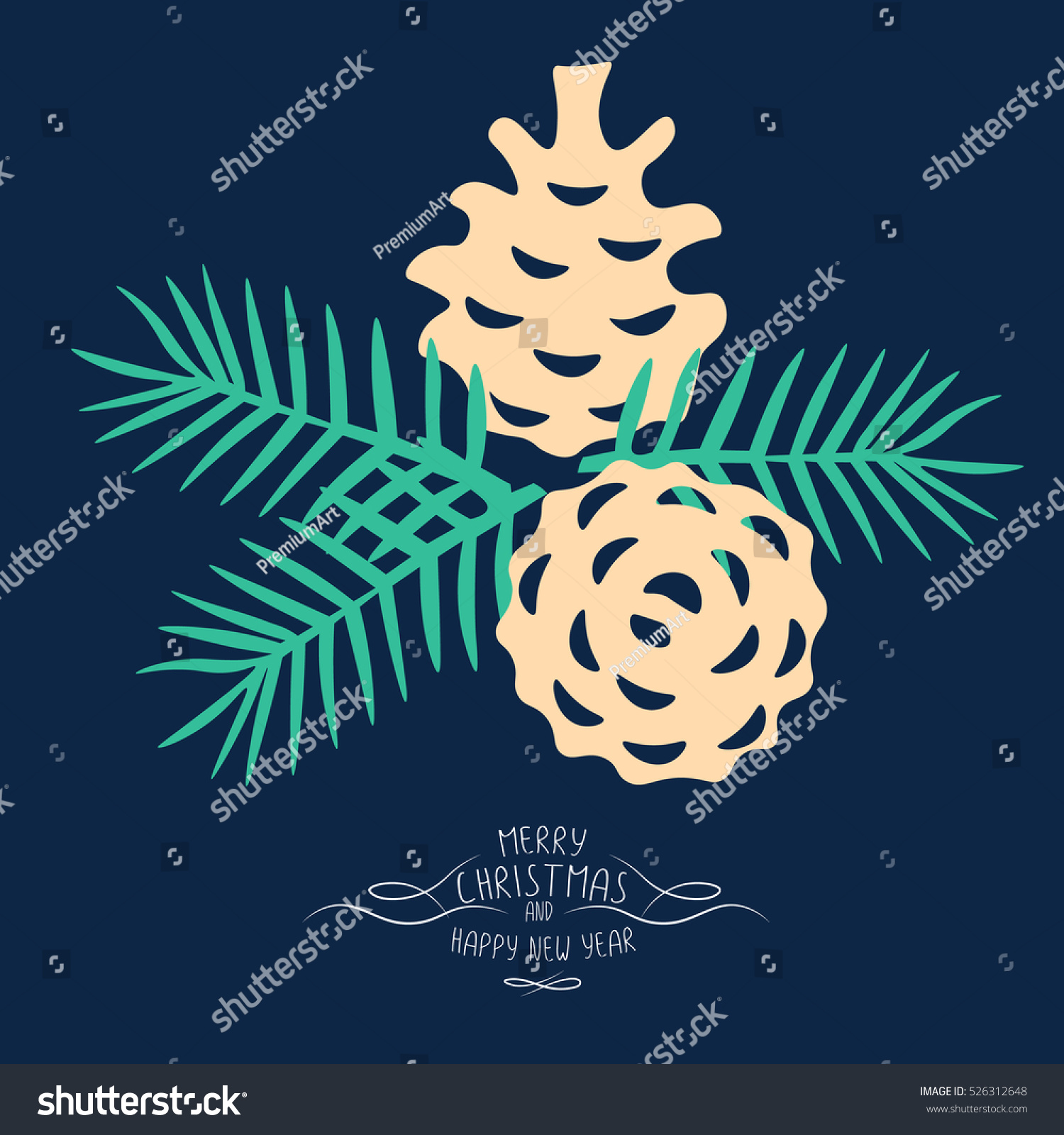 vintage merry christmas and happy new year background pine cones and spruce twigs stylish vector