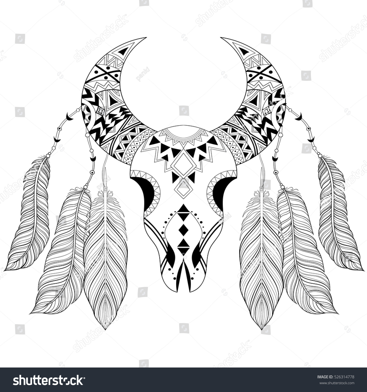 Zentangle Boho Animal Skull With Bird Feathers American Ethnic Vector Illustration For Adult Coloring Pages