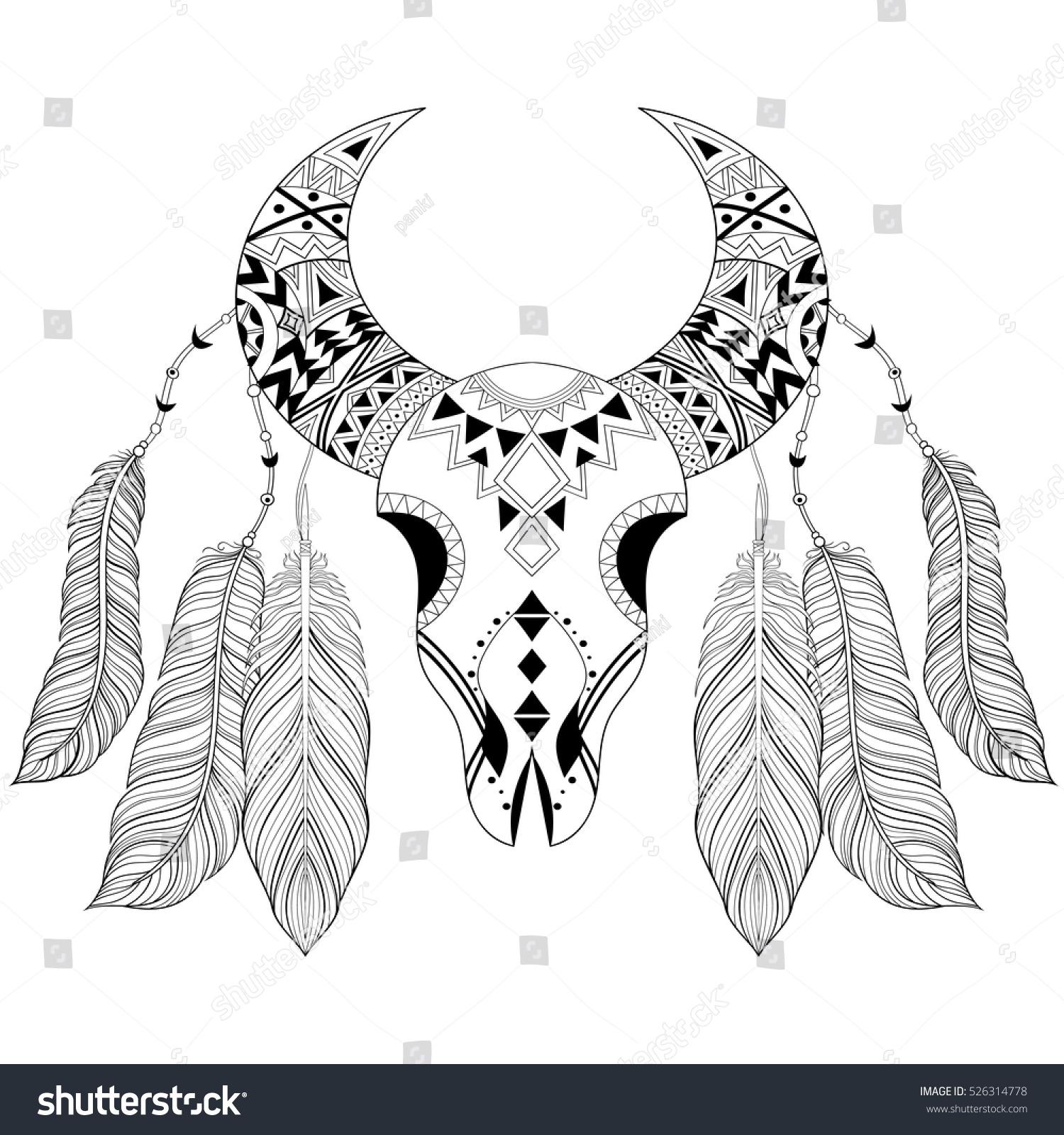 Cute Boho Pattern Bird Vector Black White Coloring Book