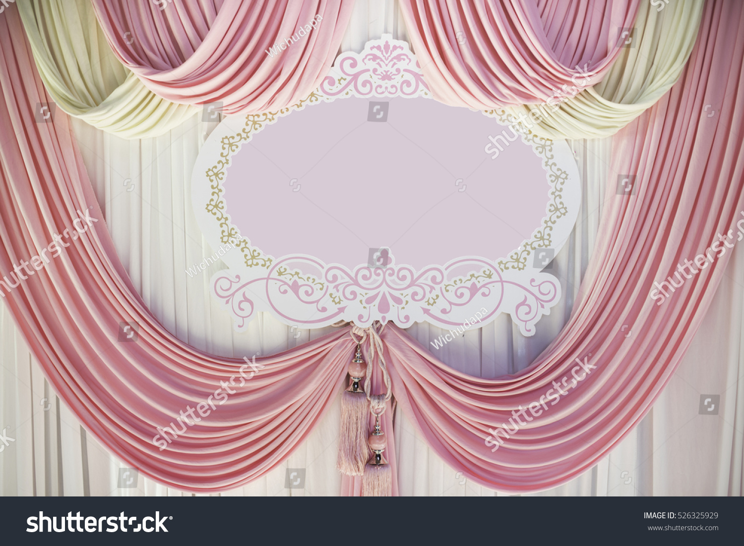 Pastel Pink Curtain Lace Curtains For Background And Label Of Celebration