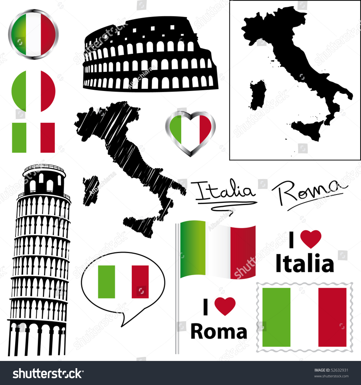 Italian Icons Symbols Collection Stock Illustration 52632931