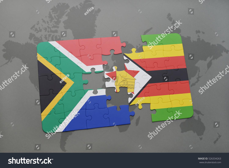 Puzzle national flag south africa zimbabwe stock illustration puzzle with the national flag of south africa and zimbabwe on a world map background gumiabroncs Choice Image