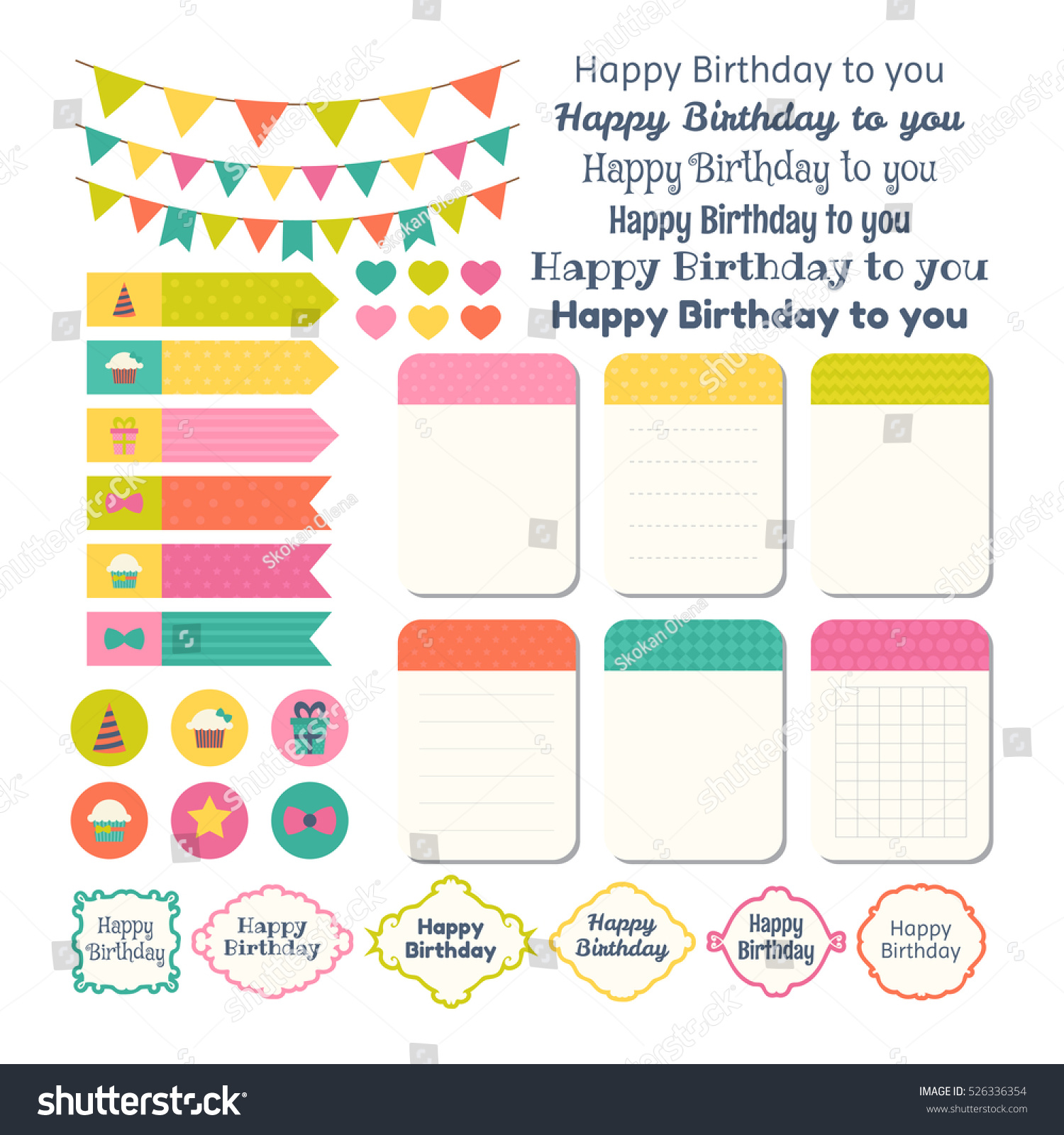 Set Of Birthday Party Design Elements. Template For Notebooks. Monthly  Planner. Notes,
