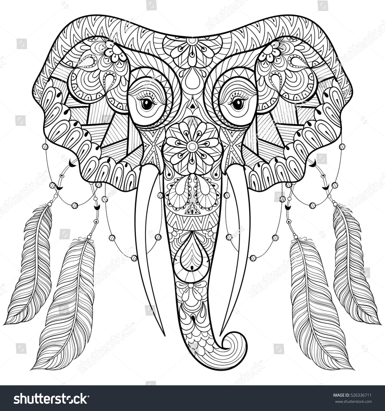 Zentangle Indian Elephant With Bird Feathers In Boho Chic Style Freehand Sketch For Adult Anti