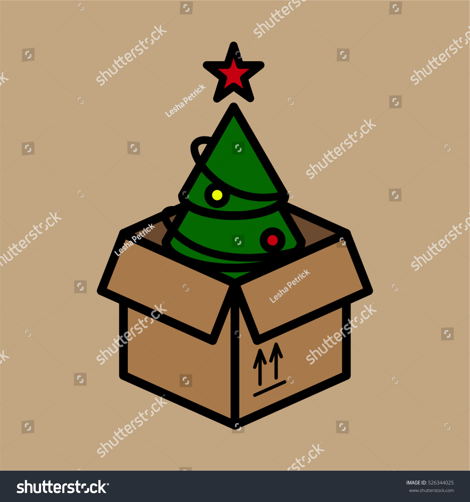 moving box christmas tree minimalistic color stock vector royalty