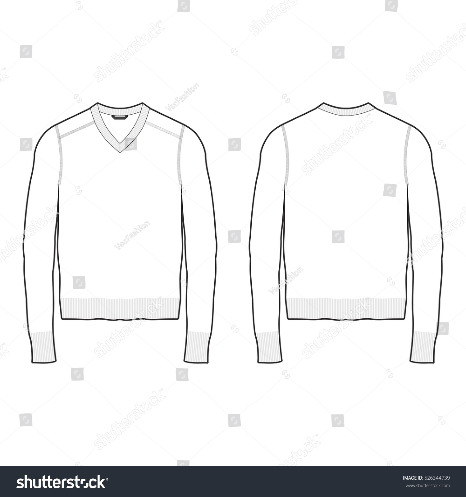 men vneck sweater template stock vector 526344739 shutterstock. Black Bedroom Furniture Sets. Home Design Ideas