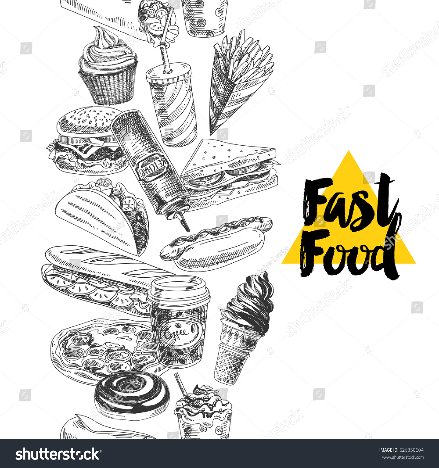 vector hand drawn fast food illustration stock vector royalty free