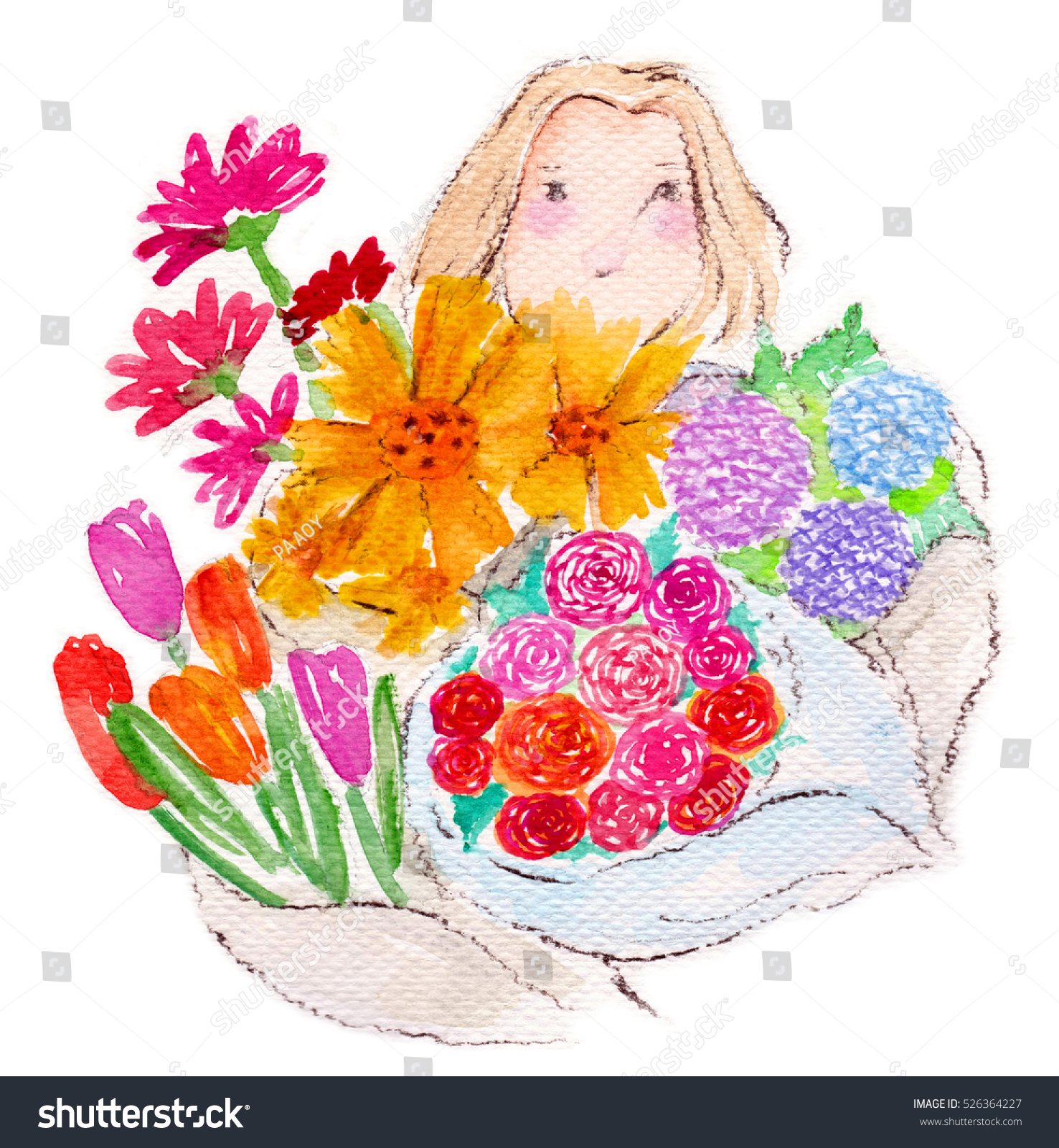 Cute Girl Bouquet Flowers Stock Illustration 526364227 - Shutterstock