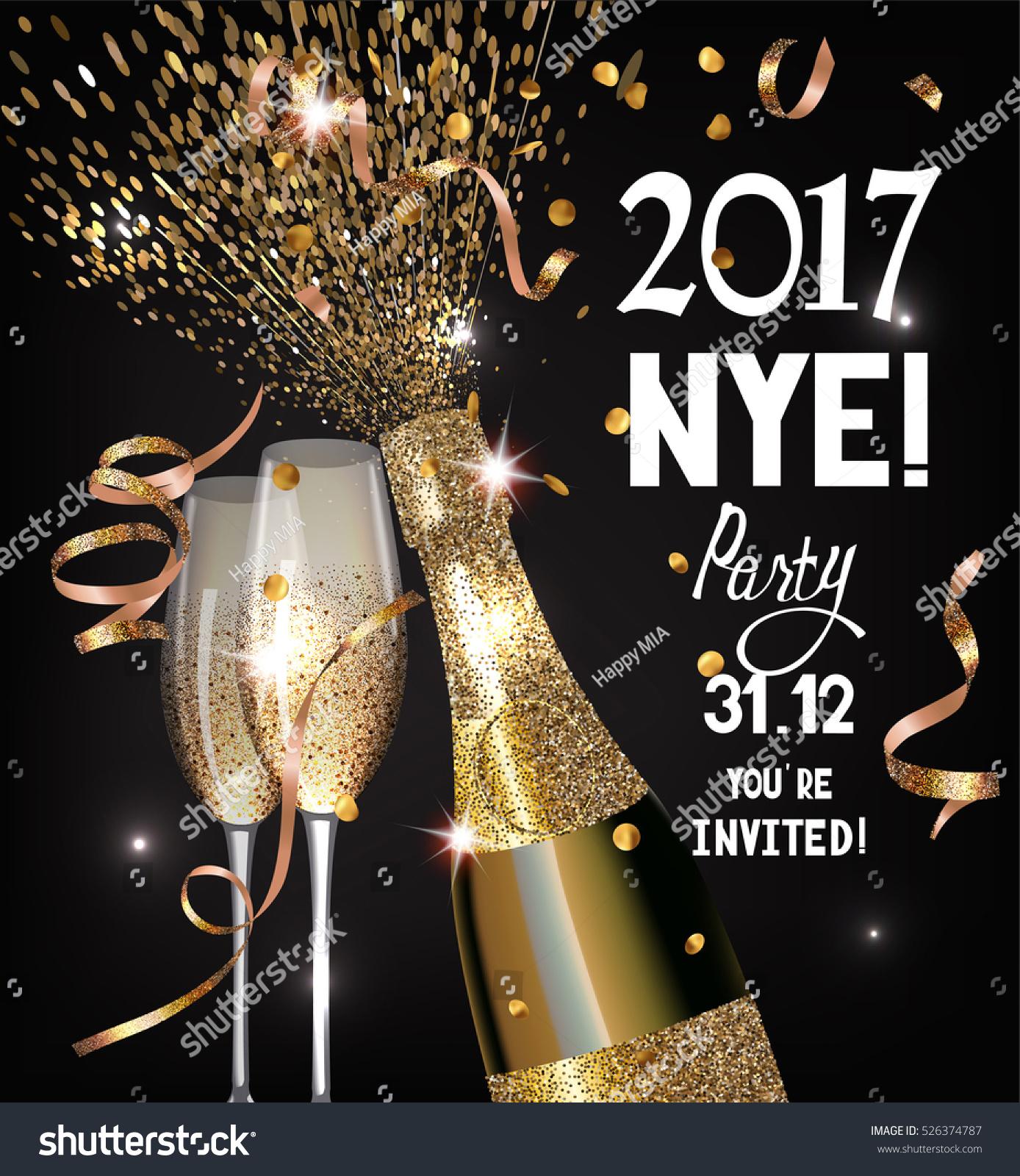 New Year Eve Party Invitation Shiny Stock Vector 526374787 ...