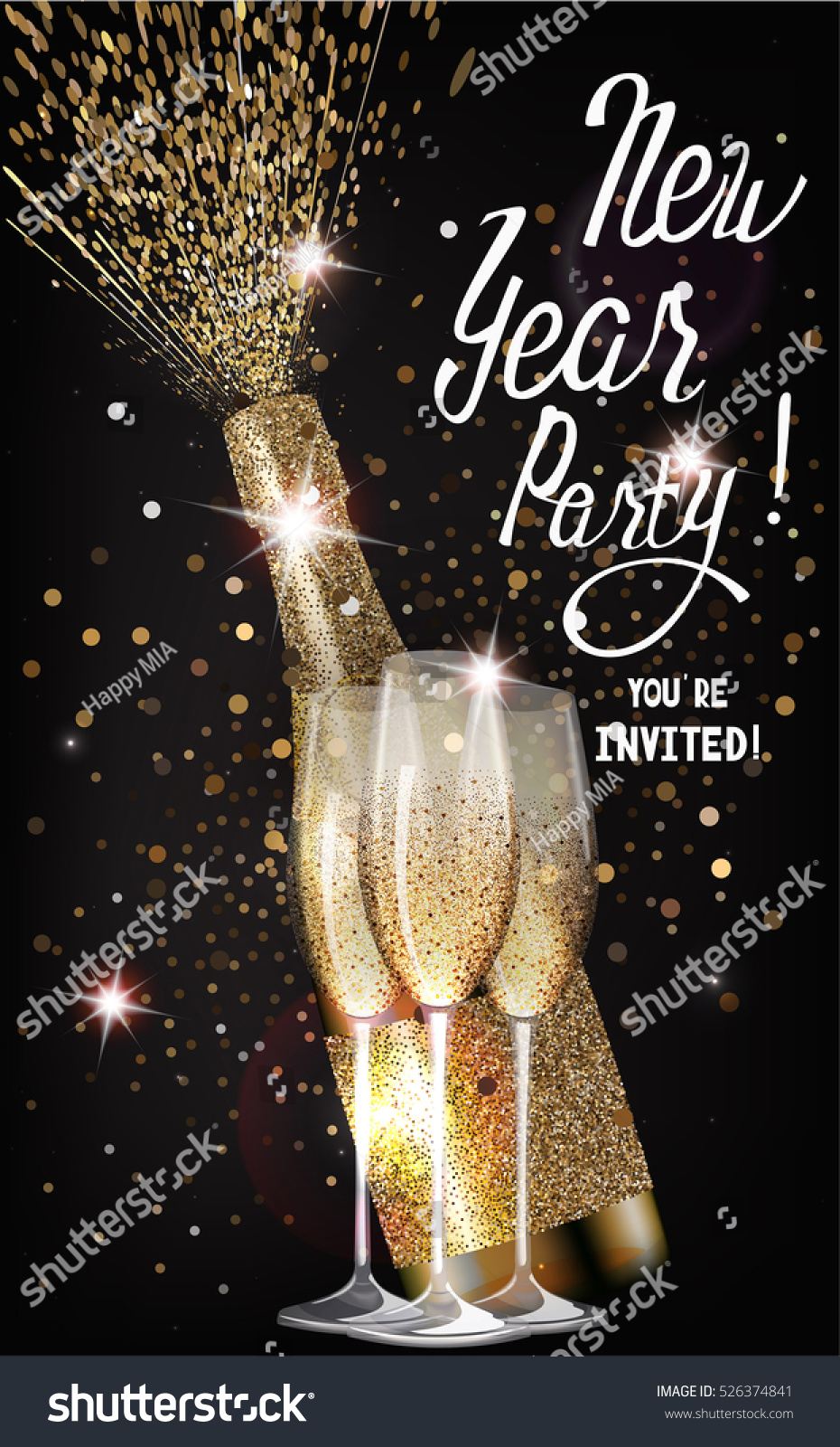 New Year Party Invitation Card Glasses Stock Vector 526374841 ...