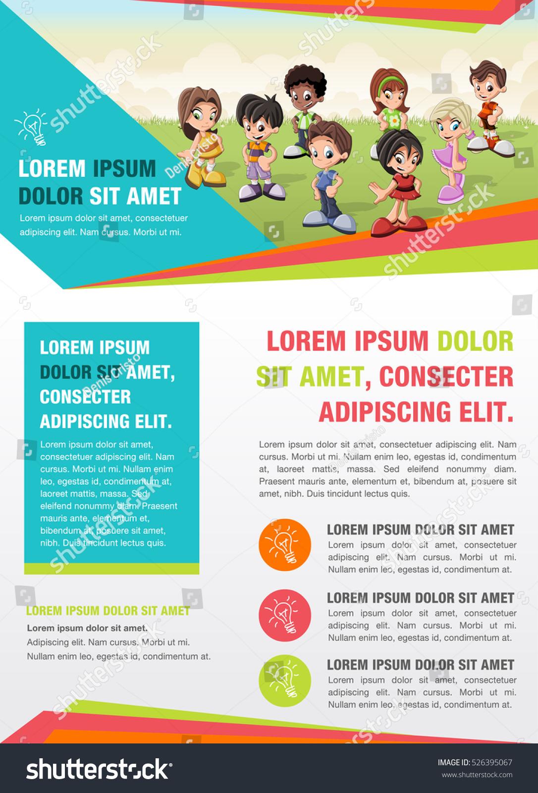 Template Advertising Brochure Cute Cartoon Kids Stock Vector