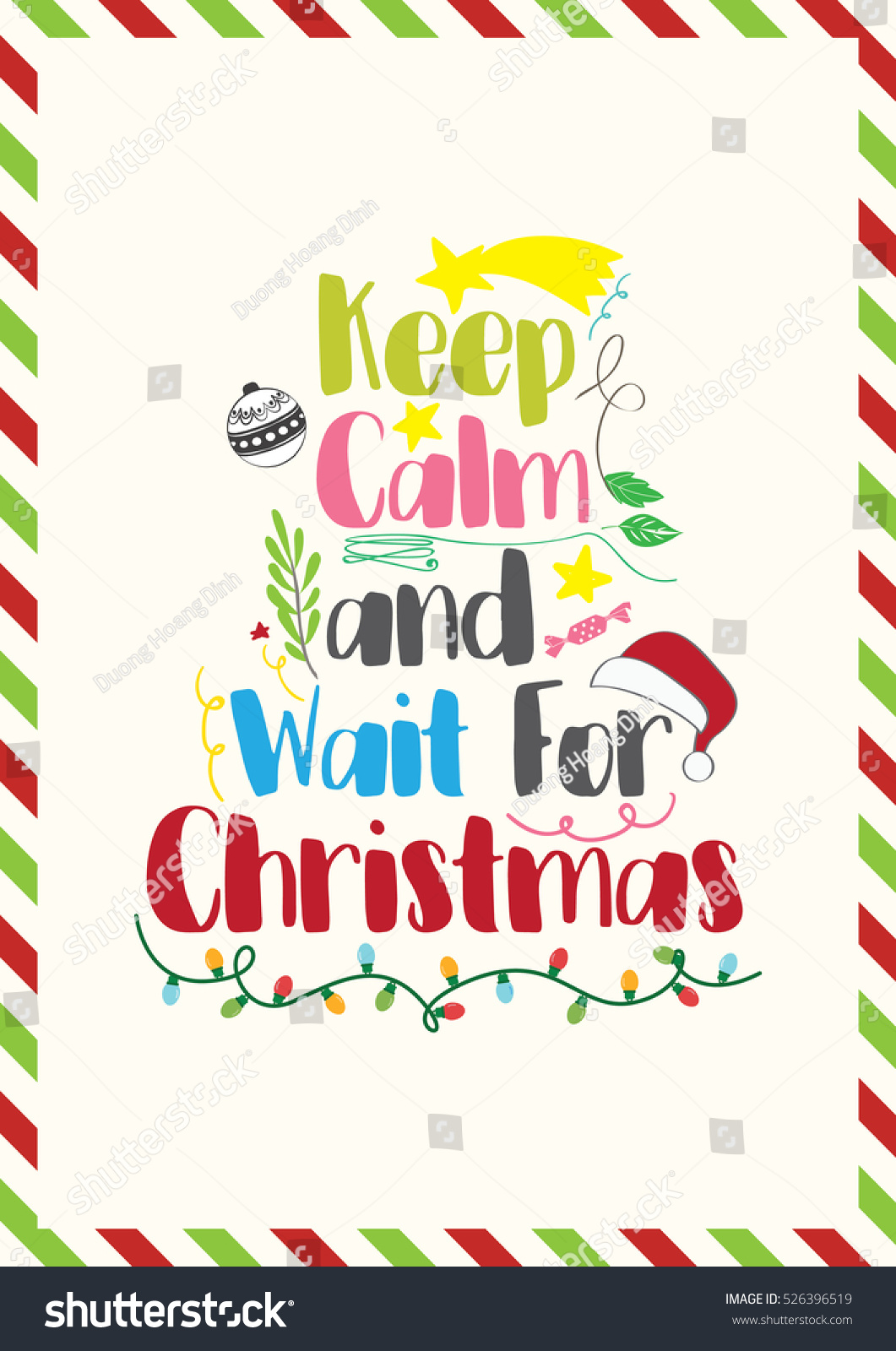 Christmas Quote Keep Calm Wait Christmas Stock Vector (Royalty Free ...