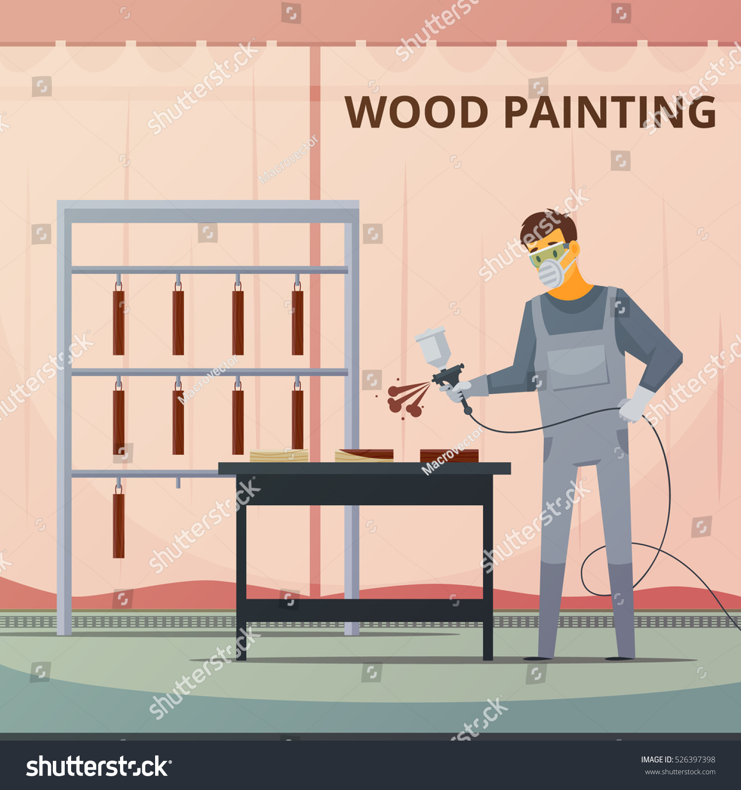 Professional woodwork painter spraying acrylic paint over wood furniture  parts for smooth finish flat poster vector. Professional Woodwork Painter Spraying Acrylic Paint Stock Vector