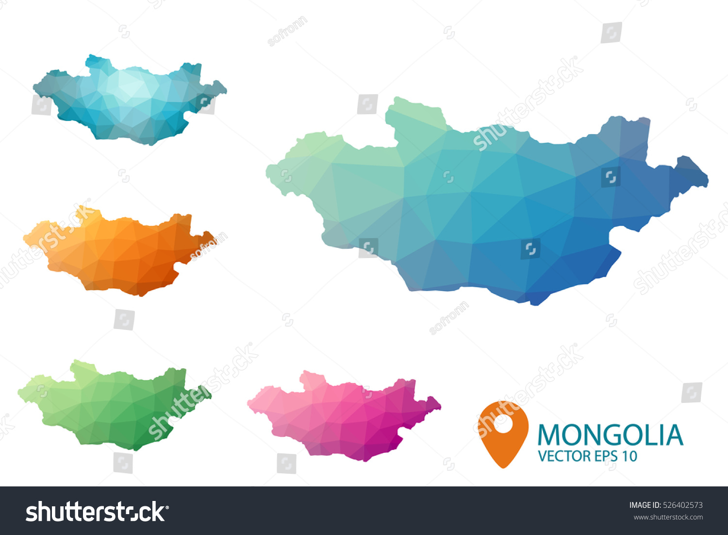Vector Map Mongolia Country Colored Bit Map - Mongolia map vector