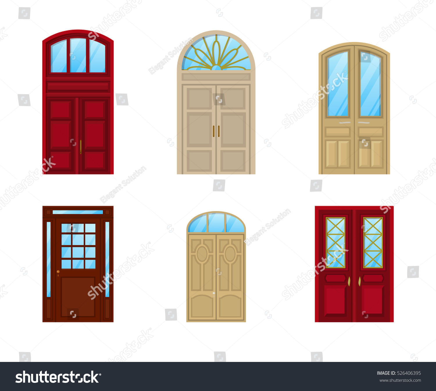 Room door set icons interior entrance stock vector for Room door frame