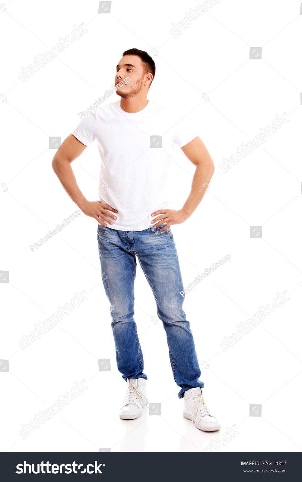 Young man white tshirt stock photo 526414357 shutterstock for Man in white shirt
