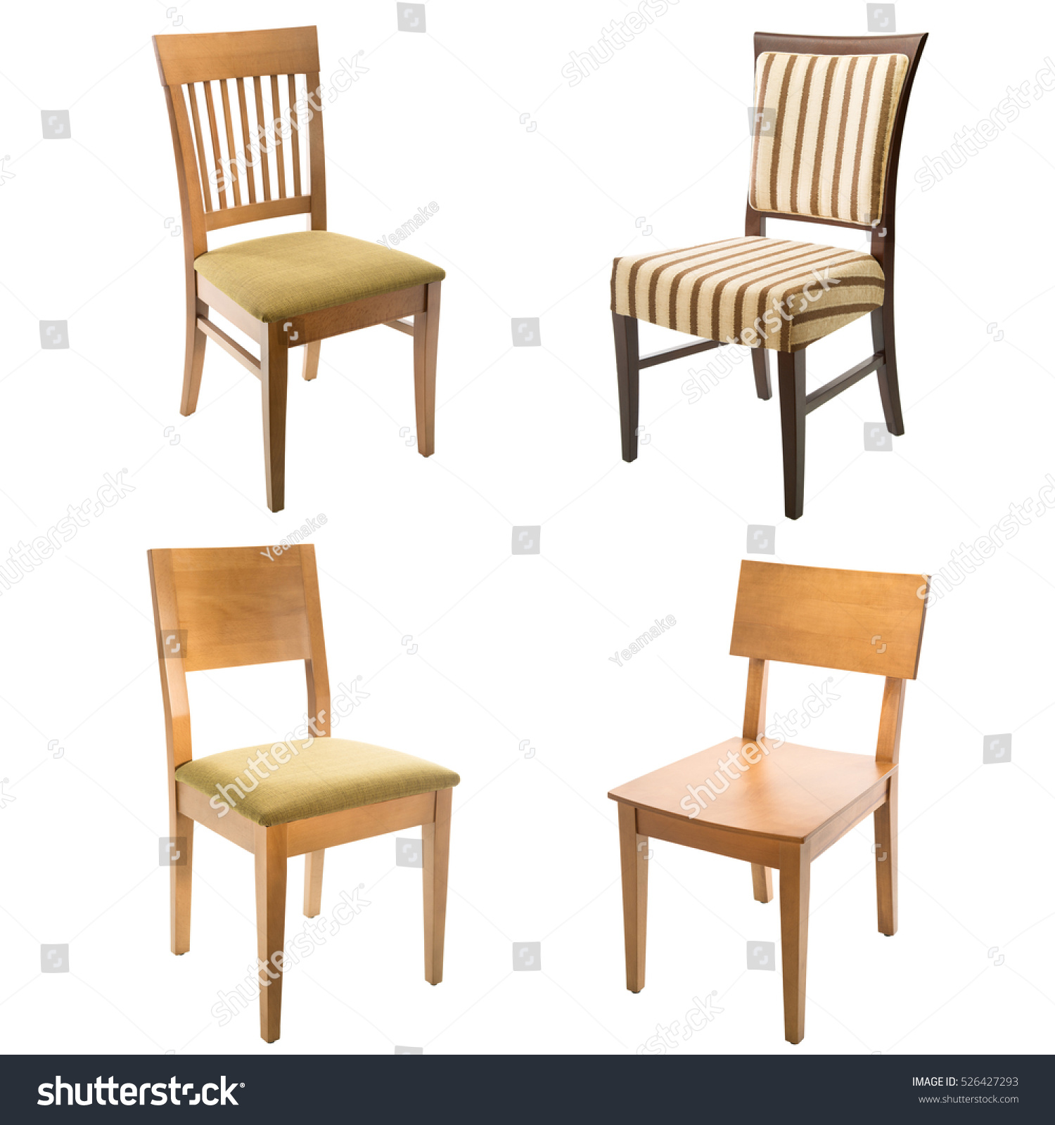 Comfortable arm chairs - Set Of Comfortable Arm Chairs Isolated On White Background Leather Wooden And Textile Chairs