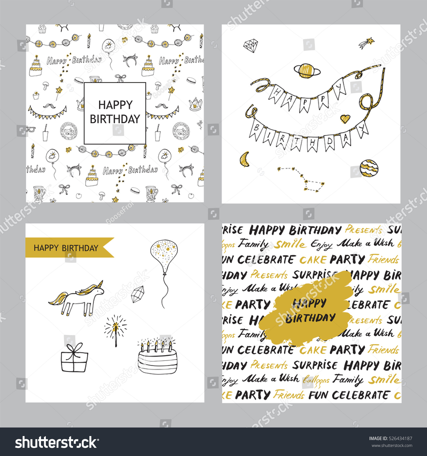 Happy Birthday Card Collection Illustration 526434187 – Birthday Card Collection