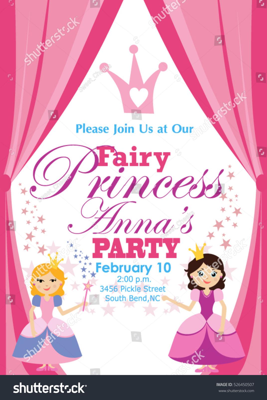 Princess Party Invitation Stock Vector 526450507 - Shutterstock