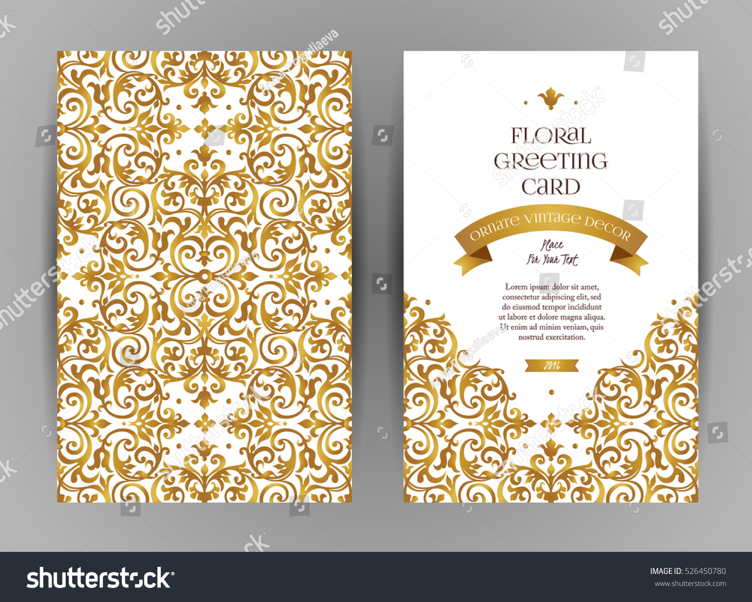 E Card Wedding Invitation: Ornate Vintage Cards Golden Floral Decor Stock Vector