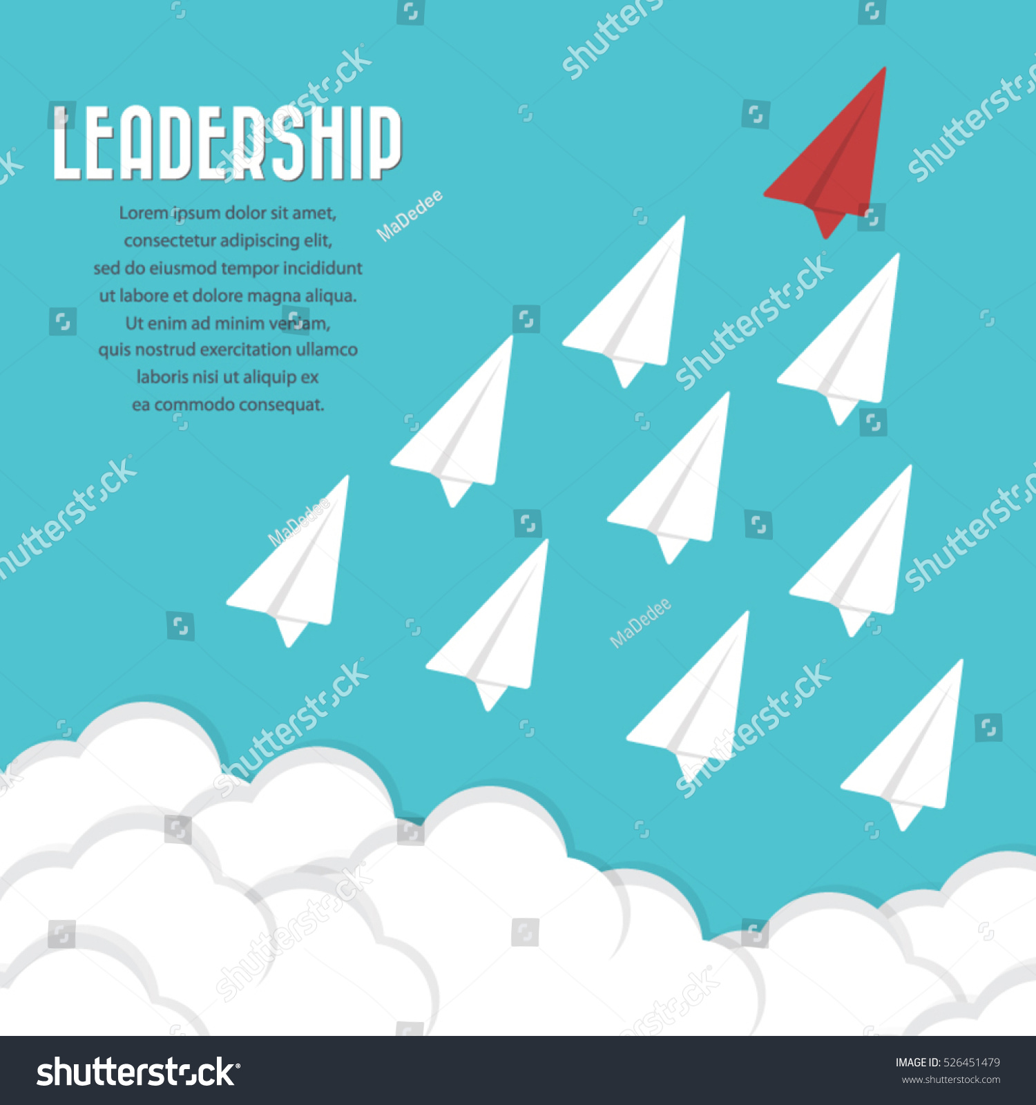 red paper airplane leader among others stock vector  red paper airplane as a leader among others leadership teamwork motivation stand
