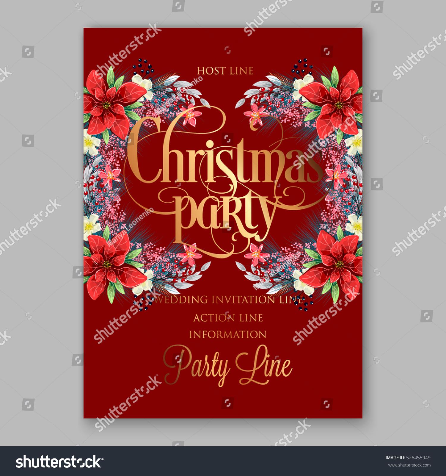 Poinsettia Christmas Party Invitation Sample Card Stock Vector (Royalty  Free) 526455949