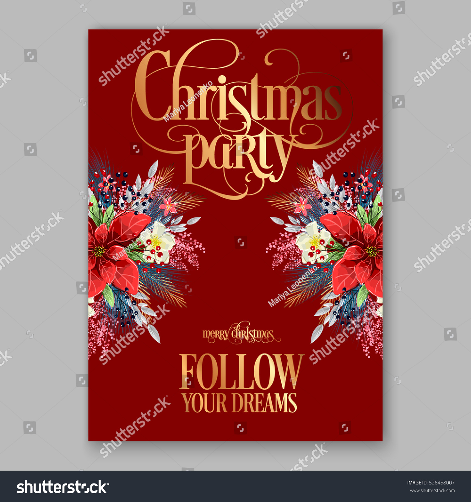 Poinsettia Christmas Party Invitation Sample Card Stock Vector (2018 ...