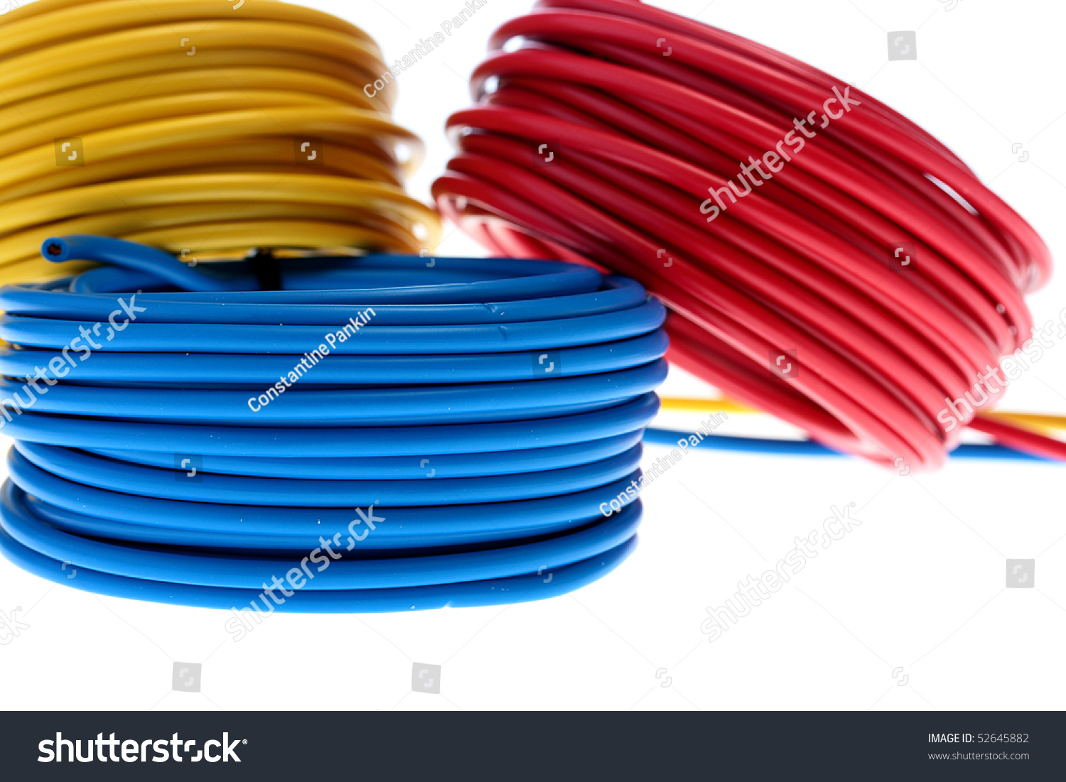 Colour For Electrical Wiring Electric Wires Red Yellow Dark Blue Stock Photo Edit Now 52645882 Of And Are Winded In Rings