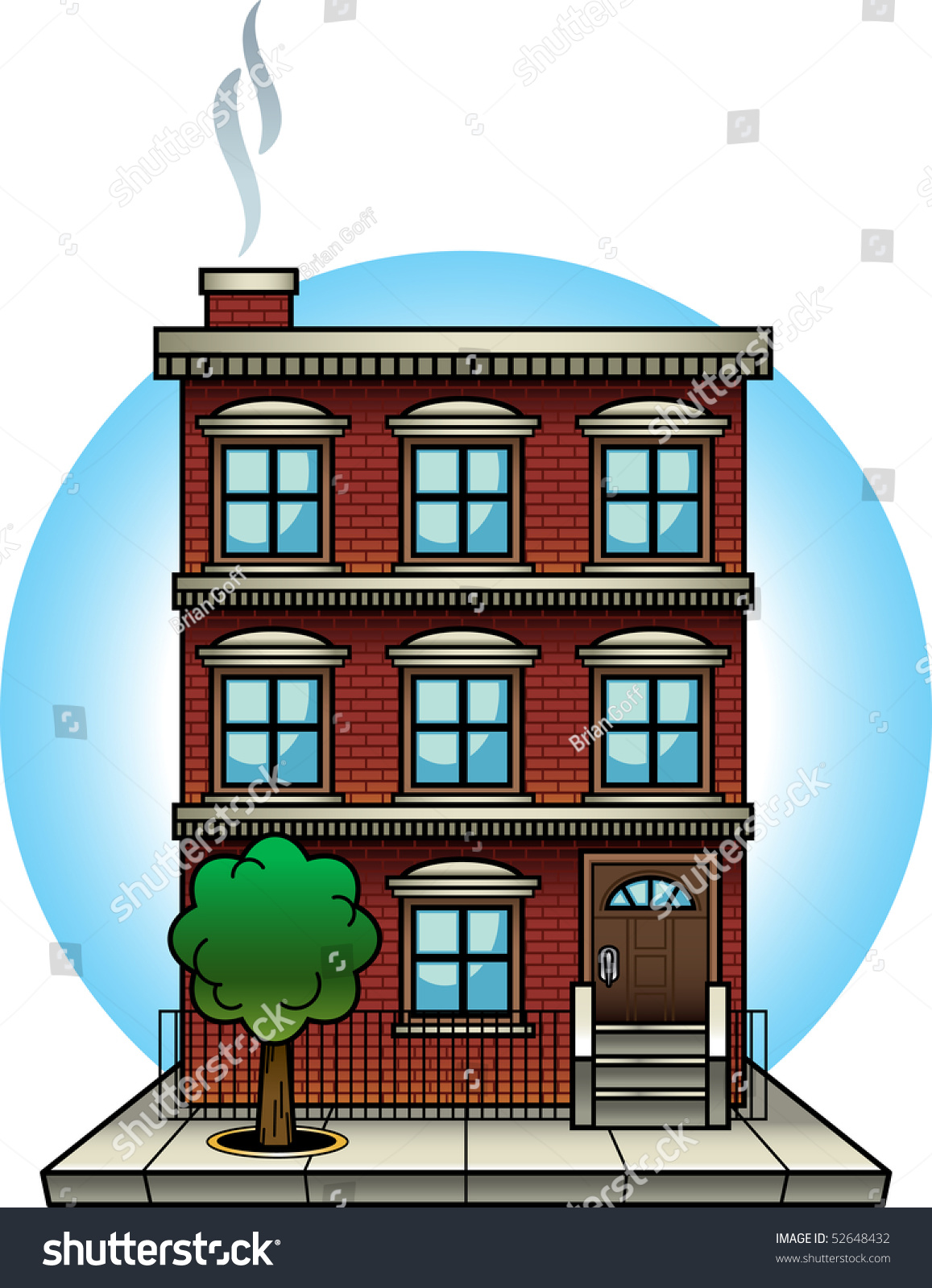 Cartoonstyle Vector Illustration Brick Apartment Building ...