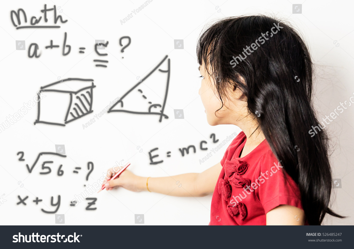 Asian Girl Kid Confusing Advance Maths Stock Photo (Safe to Use ...