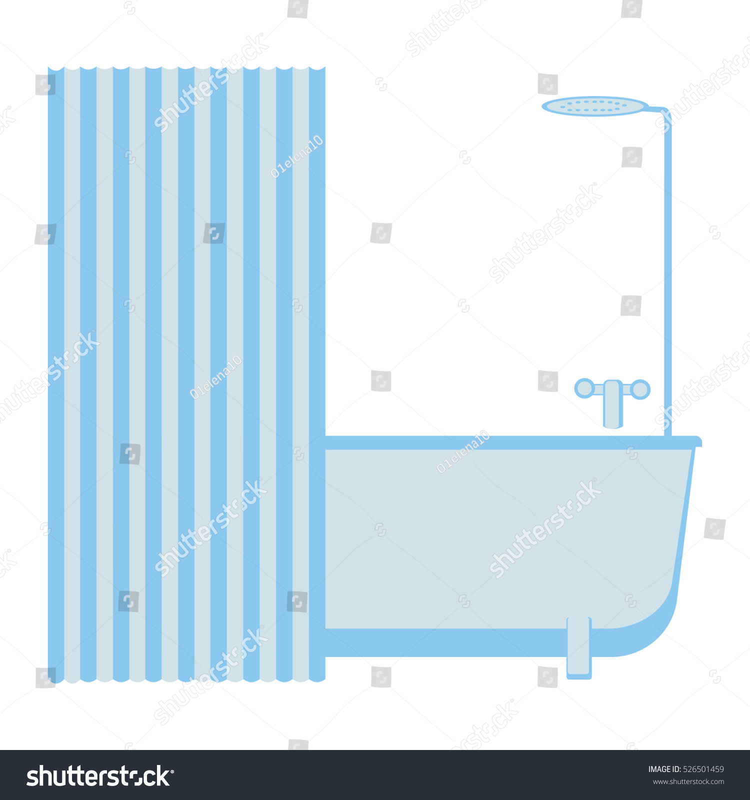 Plumbing Bathroom Tub Faucet Shower Striped Stock Vector 526501459 ...