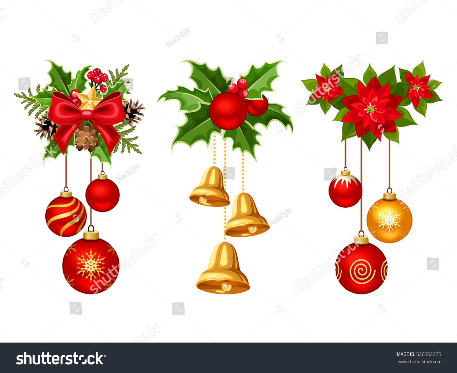 Holly christmas ornaments - Set Of Three Vector Christmas Decorations With Red And Gold Balls Bells Fir Branches