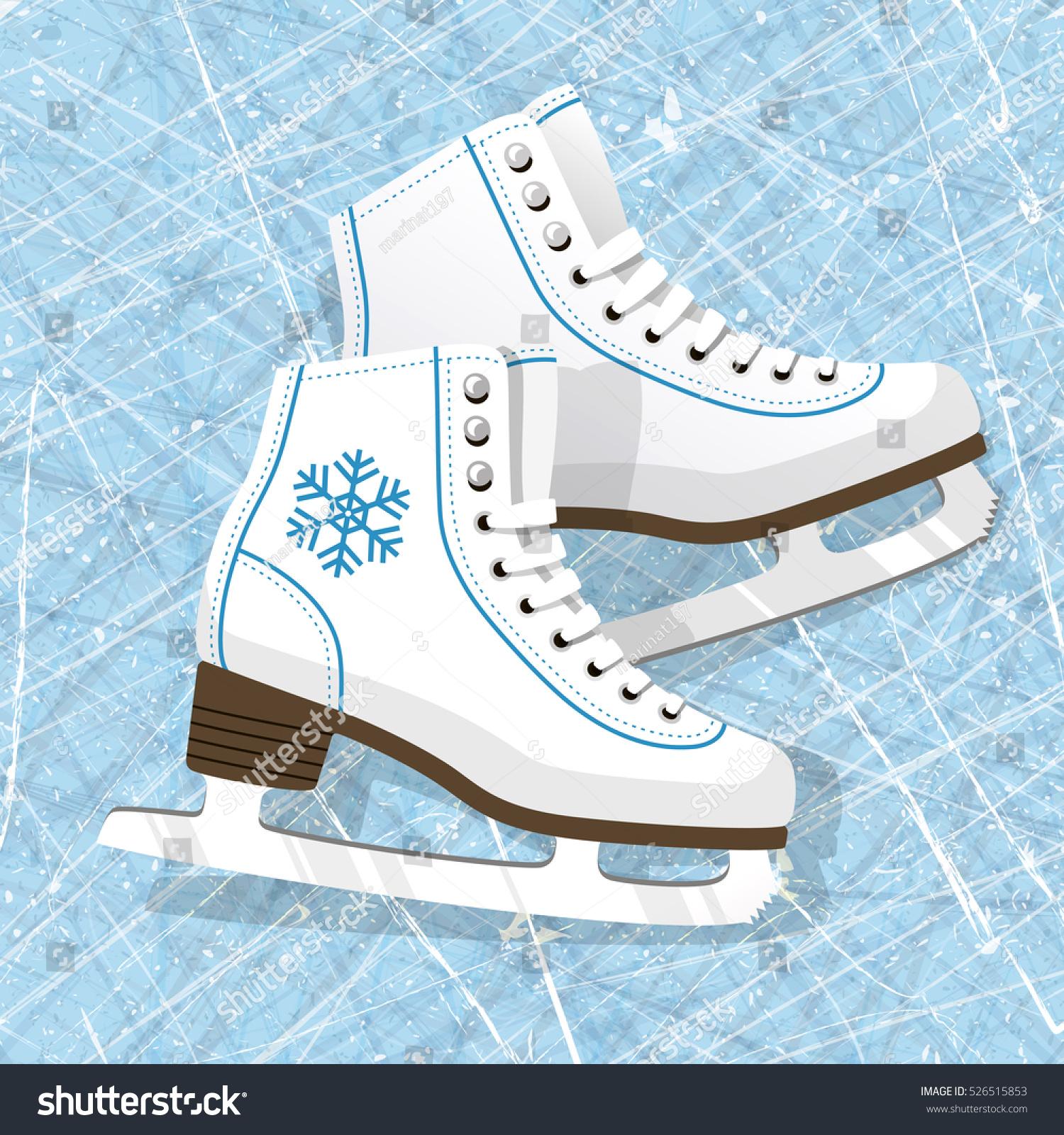 Pair White Ice Skates Figure Skates Stock Vektorgrafik Lizenzfrei
