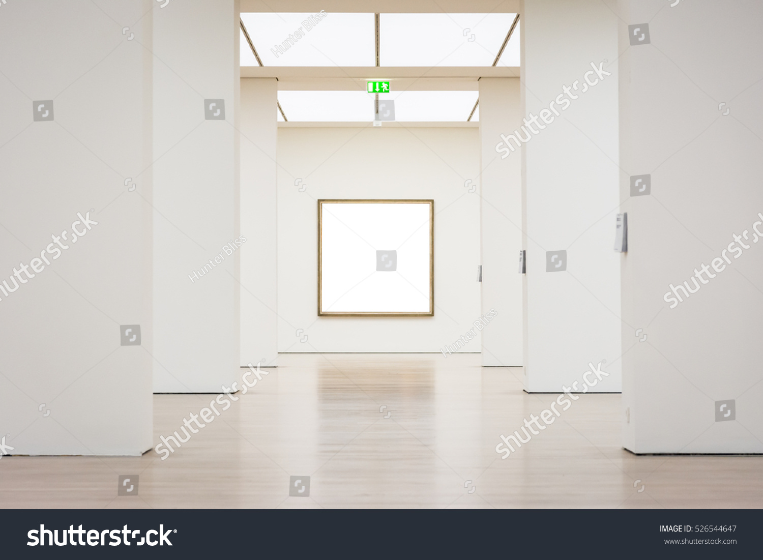 Modern Art Museum Frame Wall Clipping Path Isolated White Vector Illustration Template #526544647