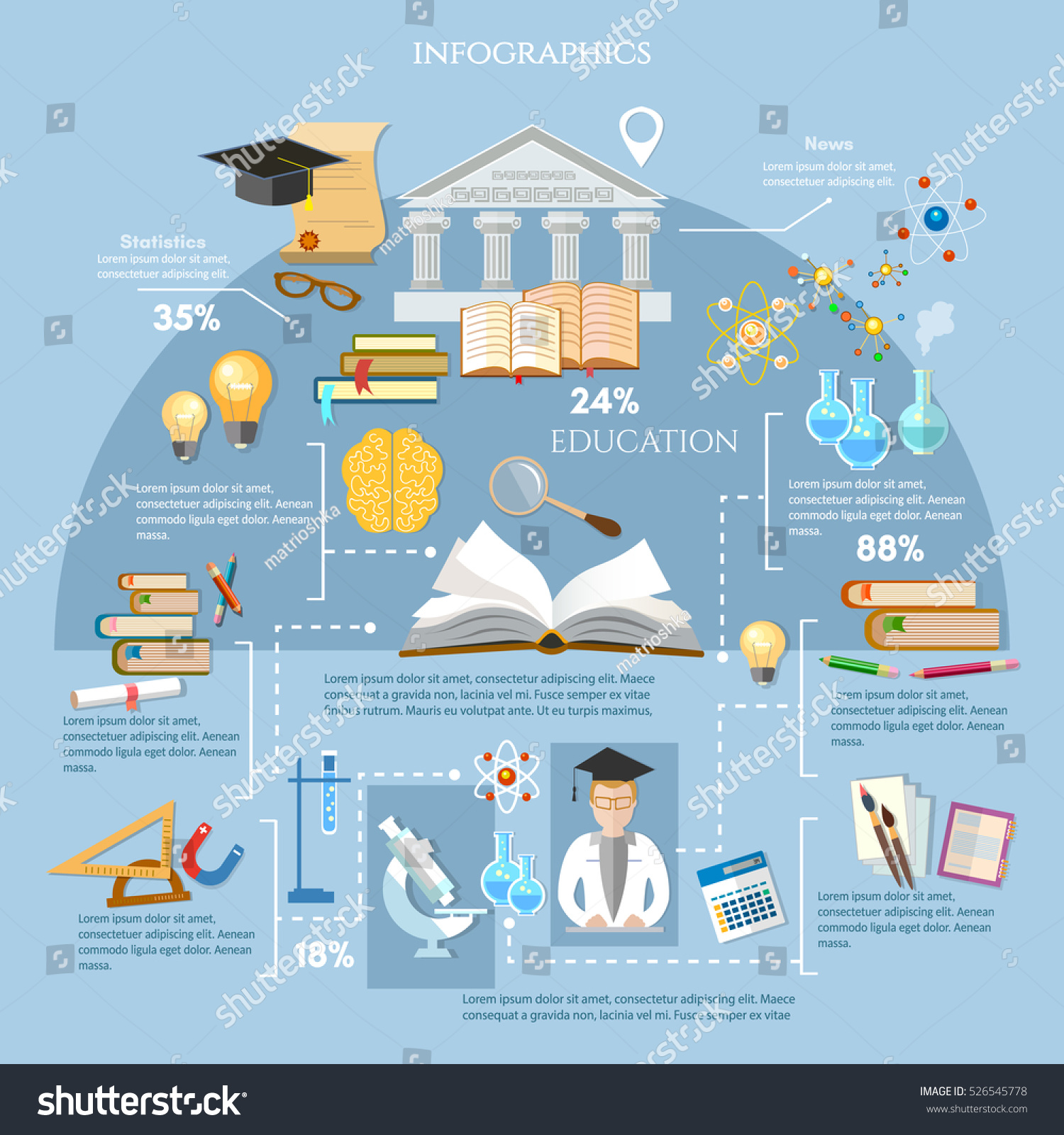 Education infographic elements student learning vector. Open book of knowledge, back to school, different educational supplies, infographic effective modern education template design vector