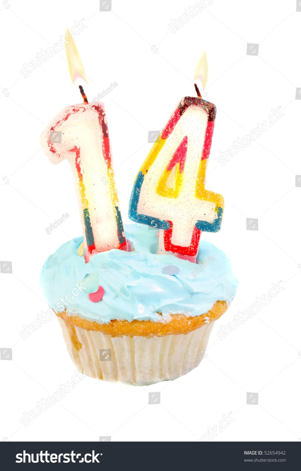 Fourteenth Birthday Cupcake Blue Frosting On Stock Photo