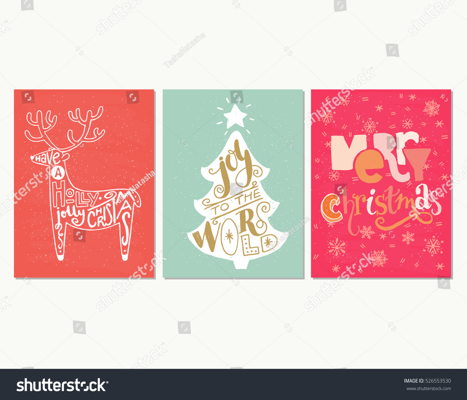 collection three handdrawn christmas card templates stock vector