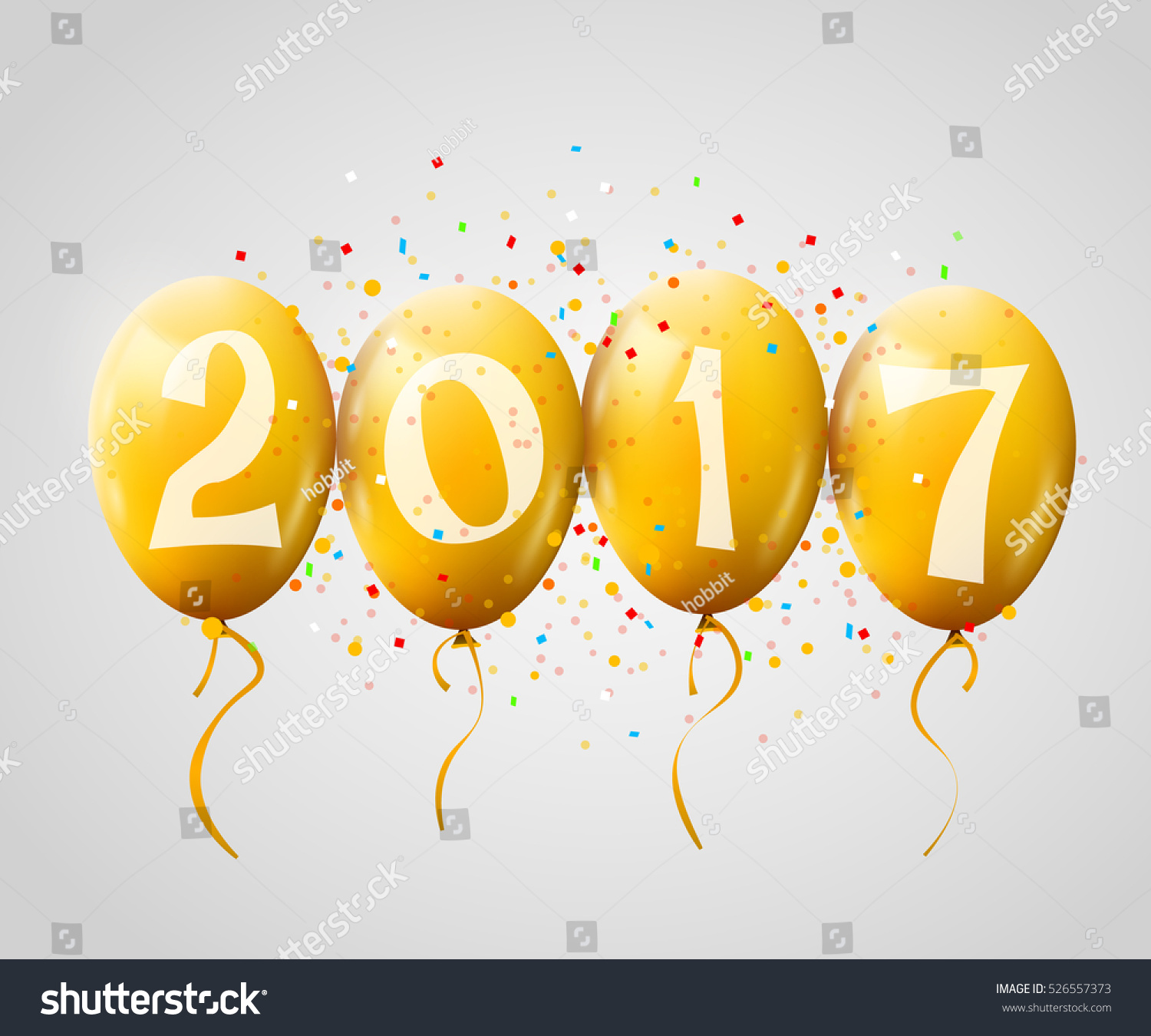 Sample greeting card 2017 christmas new stock vector 526557373 sample greeting card 2017 christmas or new year card with realistic yellow balloons and numbers on kristyandbryce Choice Image